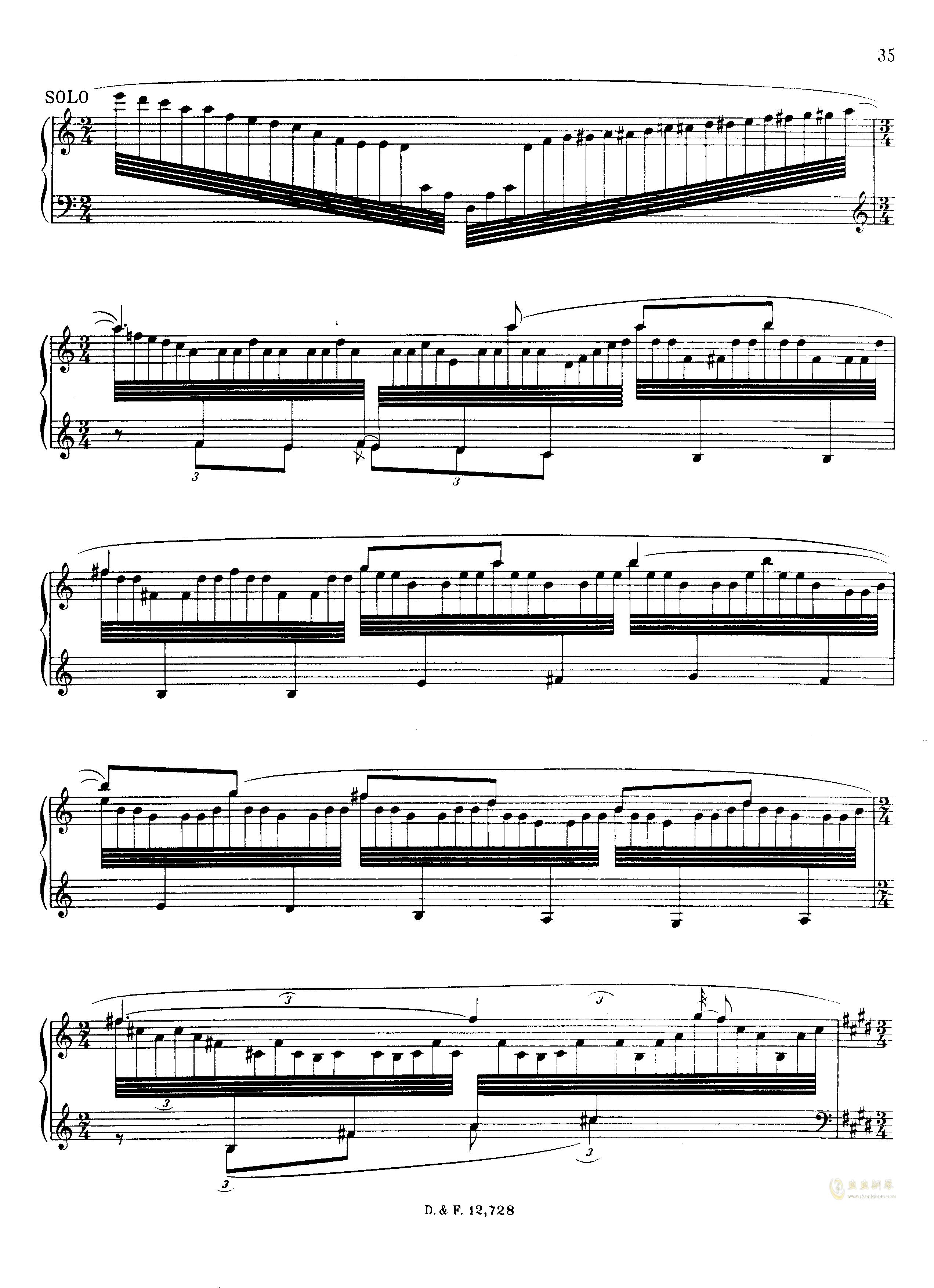 左手钢琴协奏曲钢琴谱 第35页