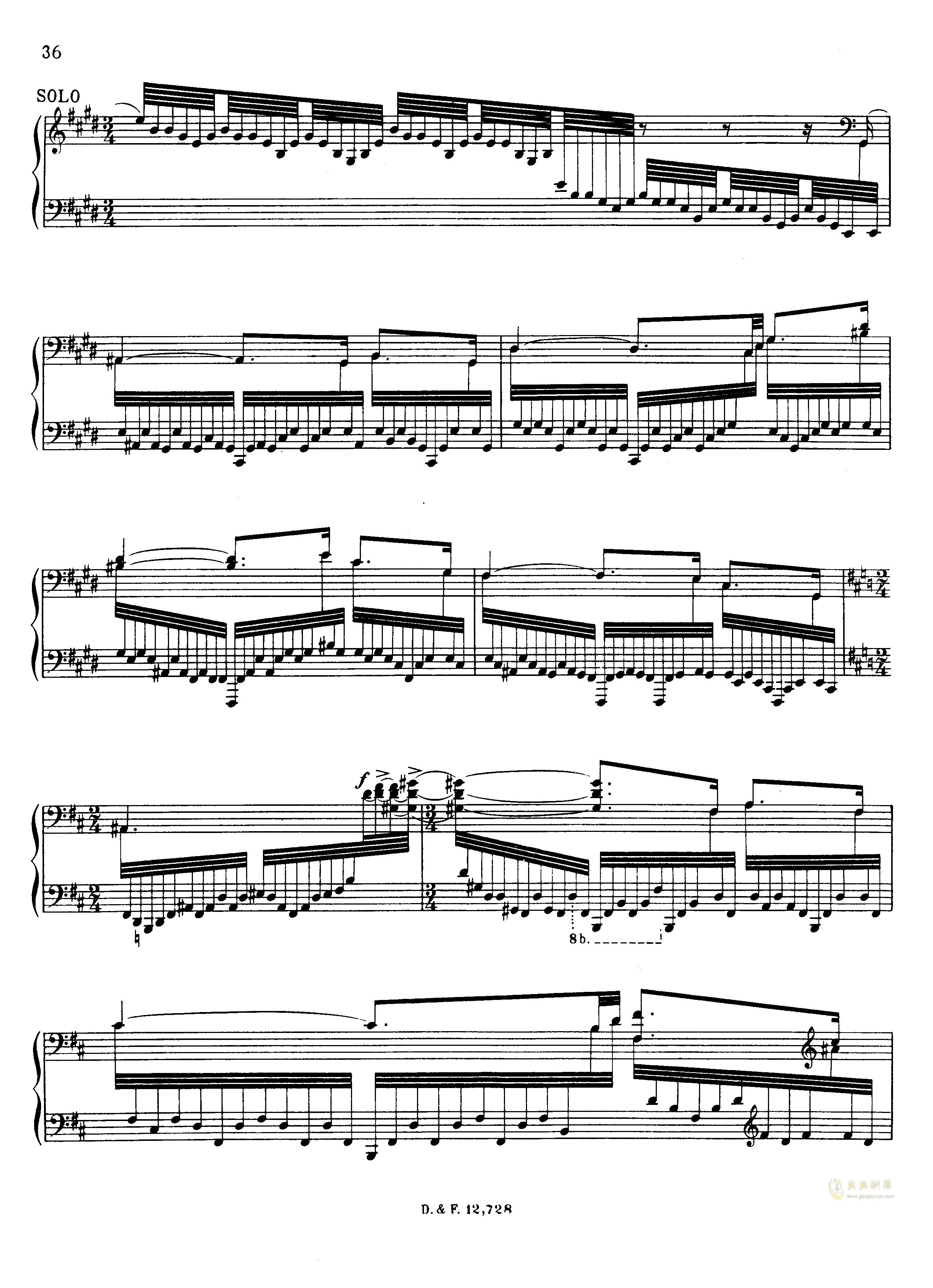 左手钢琴协奏曲钢琴谱 第36页