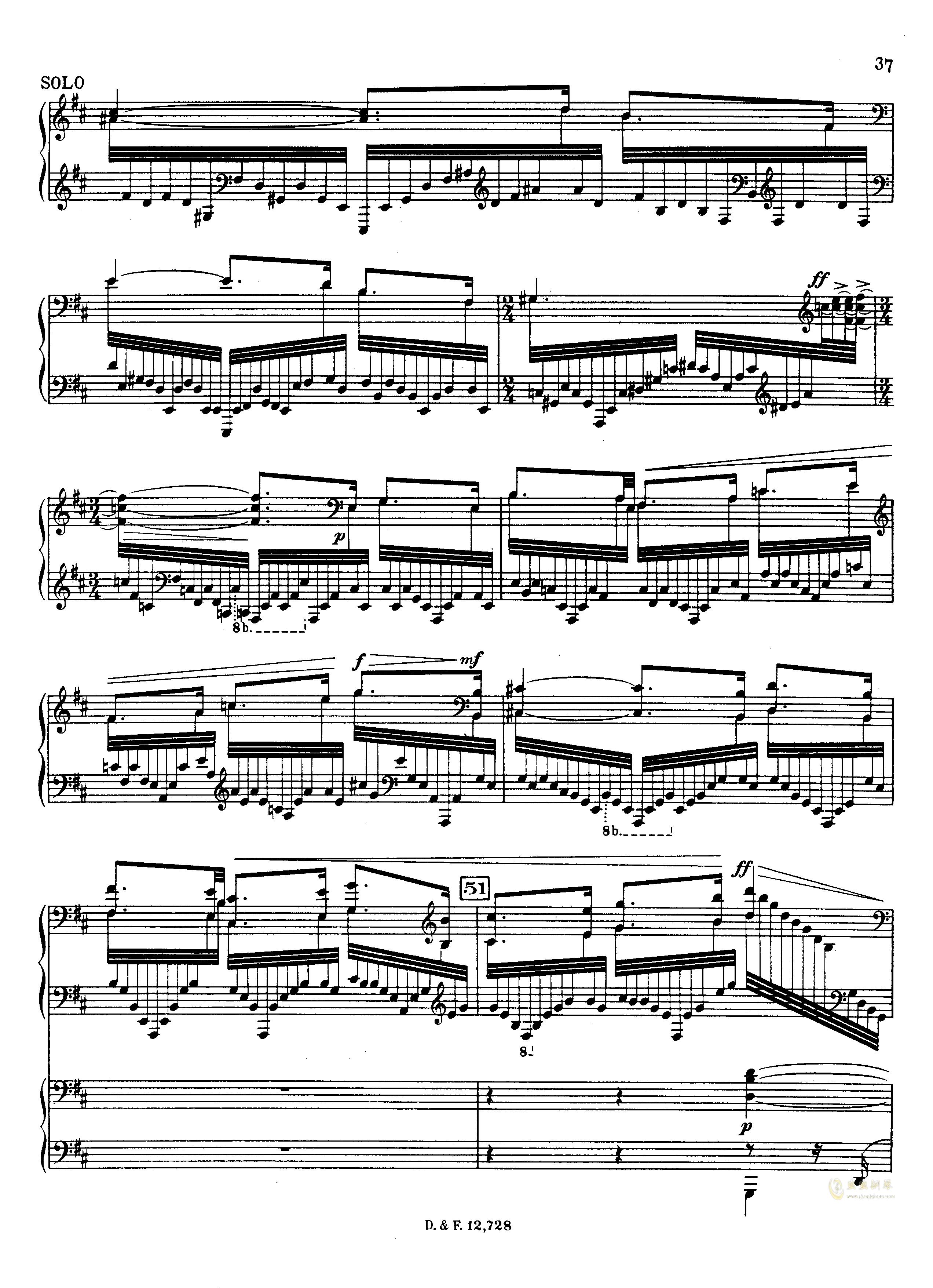 左手钢琴协奏曲钢琴谱 第37页