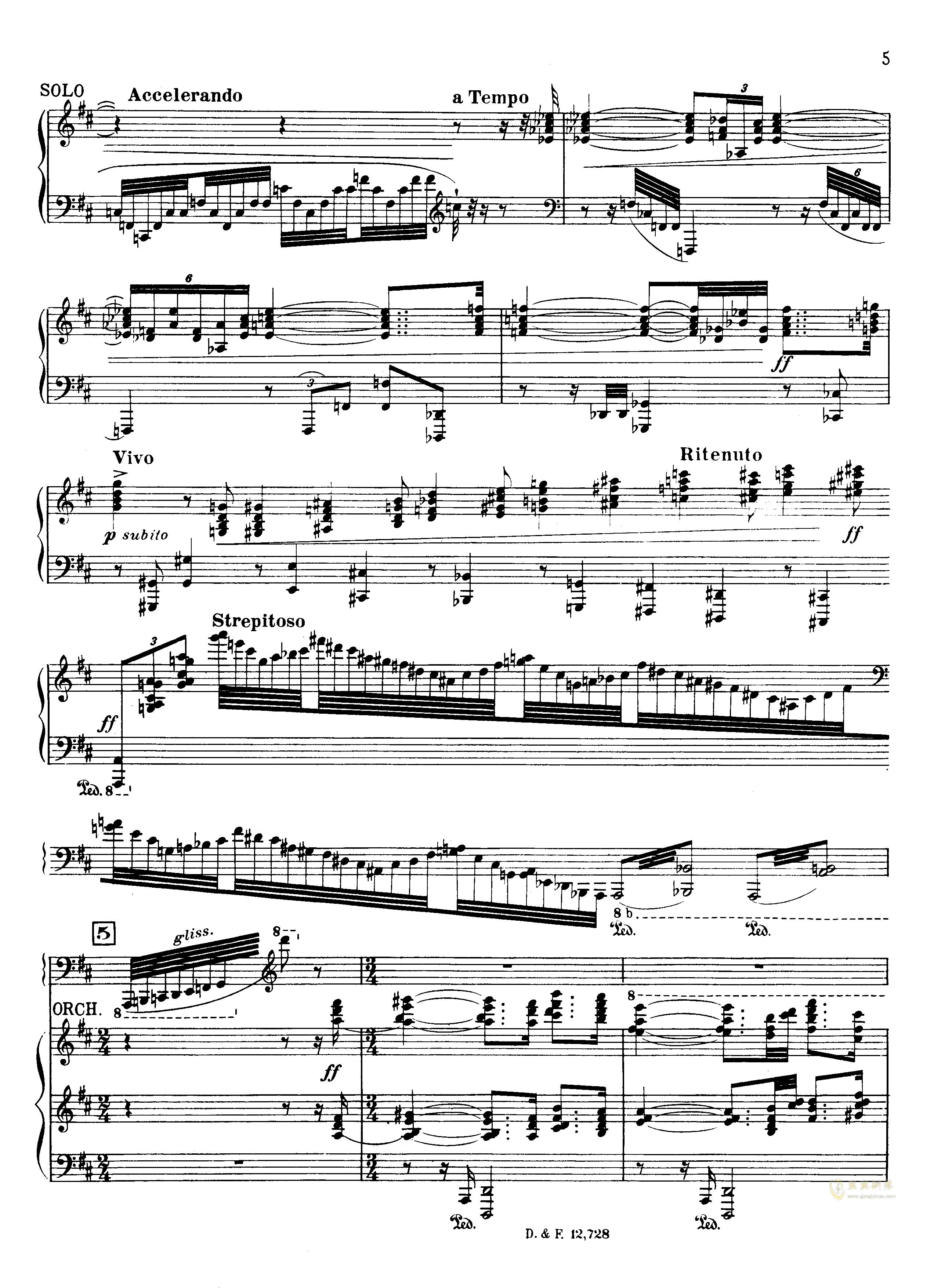 左手钢琴协奏曲钢琴谱 第5页