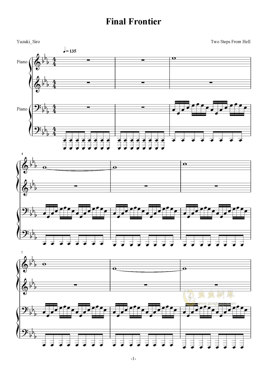 Final Frontier钢琴谱 第1页