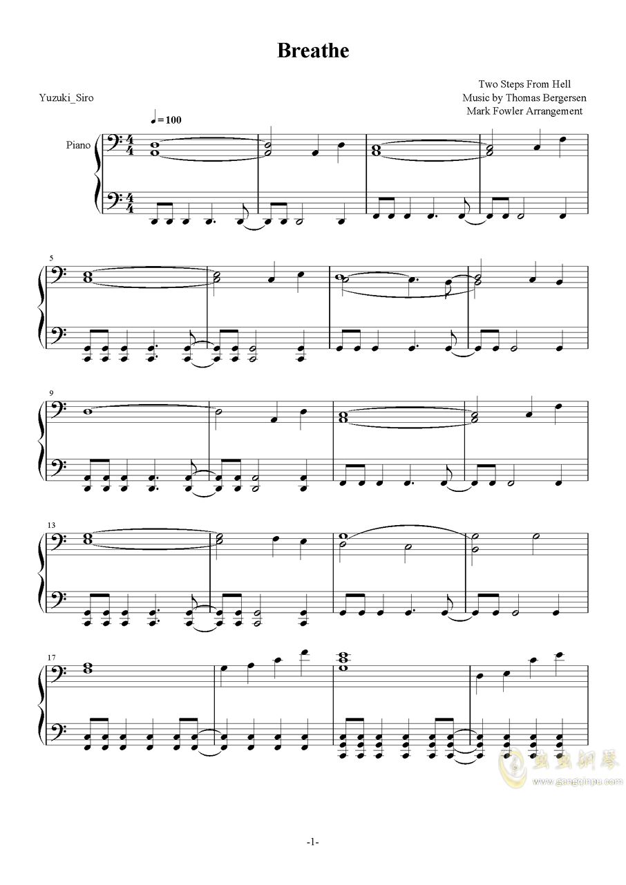 TwoStepsFromHell-Breathe钢琴谱 第1页