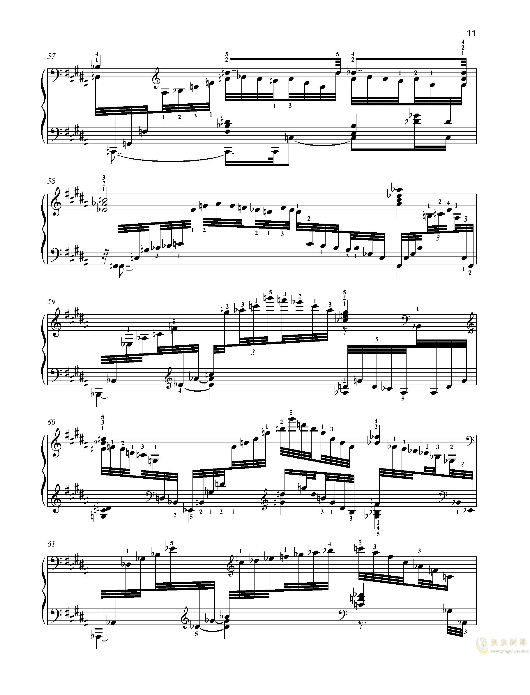 【爵士】【带指法】尼古拉斯凯帕斯汀 八首音乐会练习曲  Eight Concert 钢琴谱 第11页