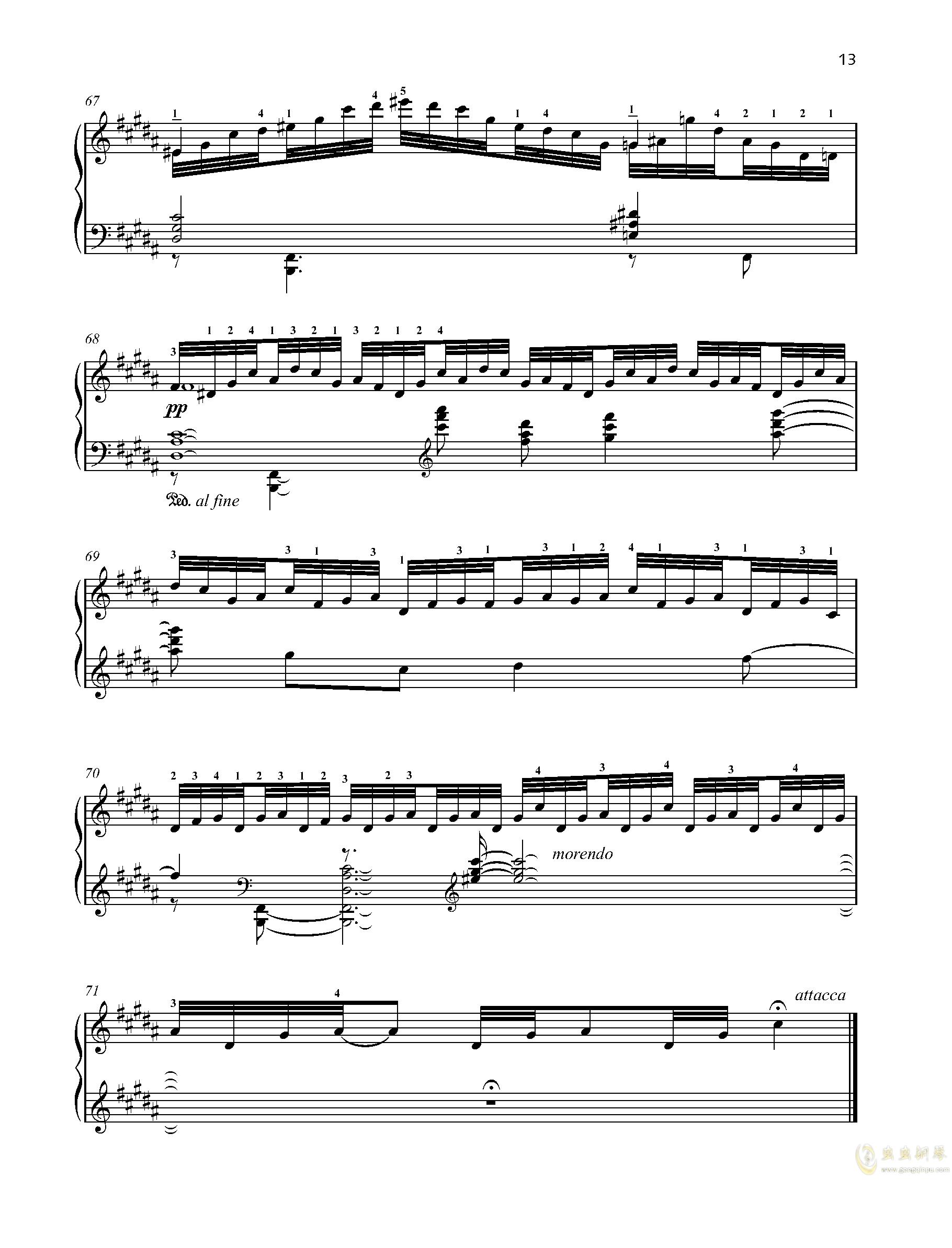 【爵士】【带指法】尼古拉斯凯帕斯汀 八首音乐会练习曲  Eight Concert 钢琴谱 第13页