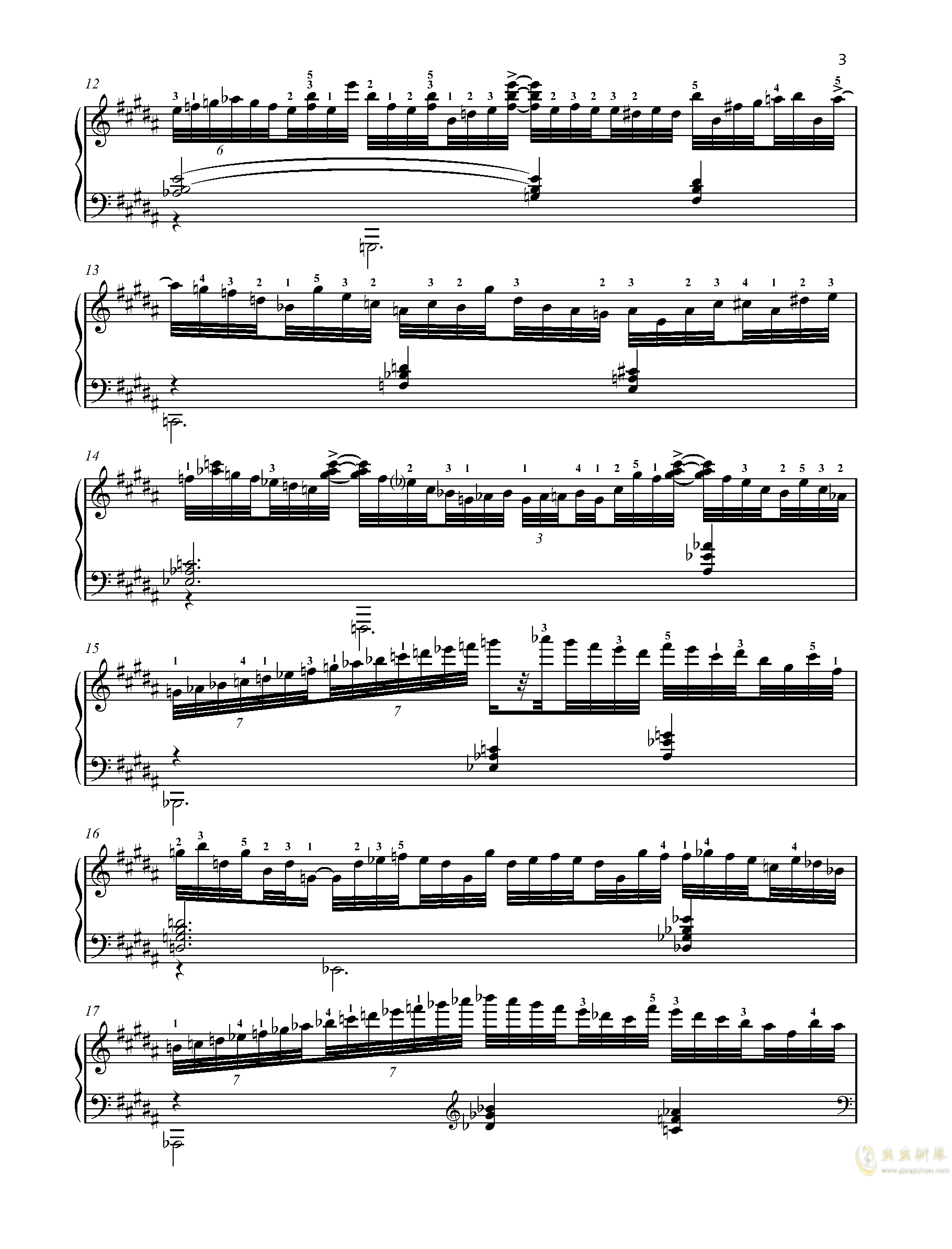 【爵士】【带指法】尼古拉斯凯帕斯汀 八首音乐会练习曲  Eight Concert 钢琴谱 第3页