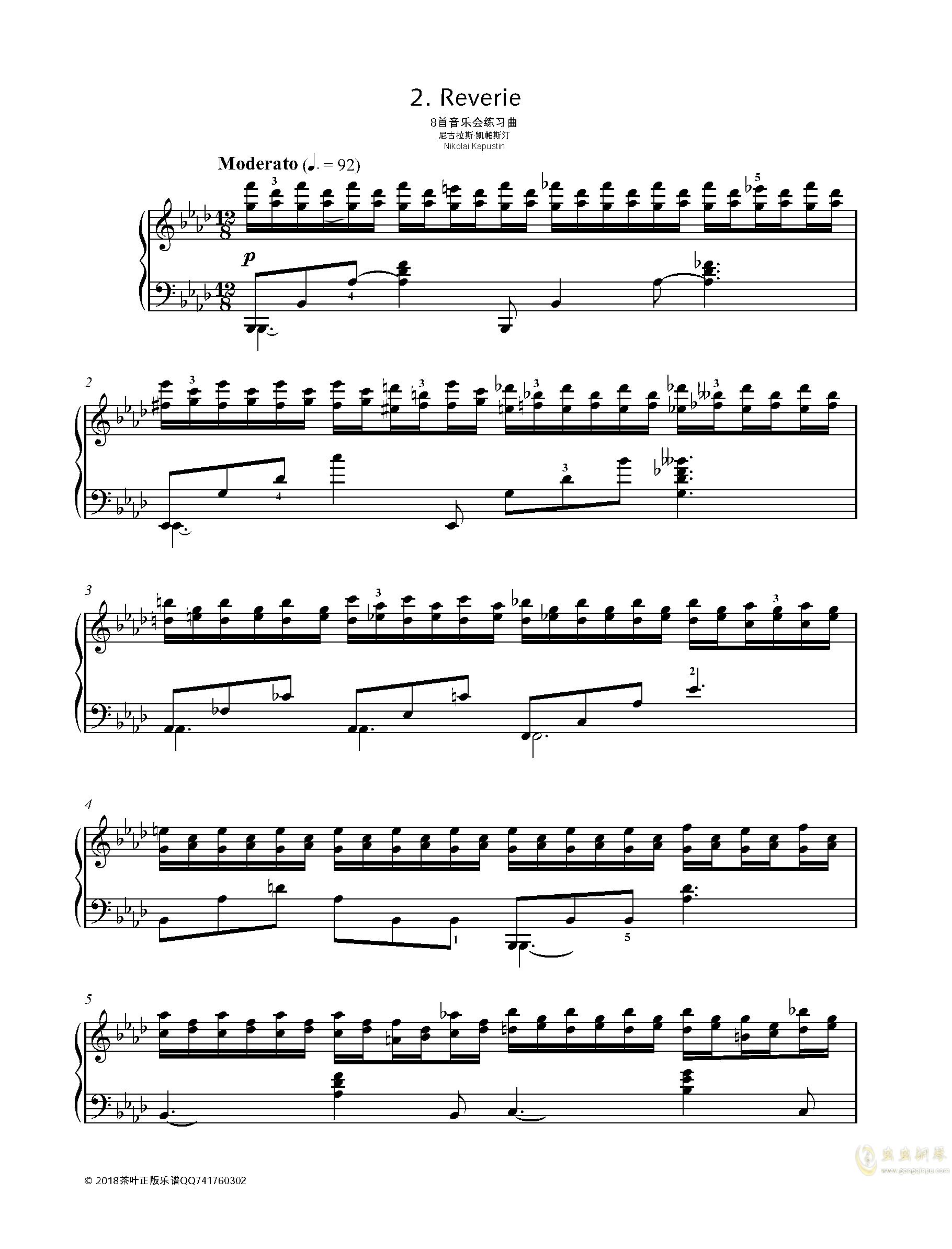 【爵士】【带指法】尼古拉斯凯帕斯汀 八首音乐会练习曲 Eight Concert 钢琴谱 第1页