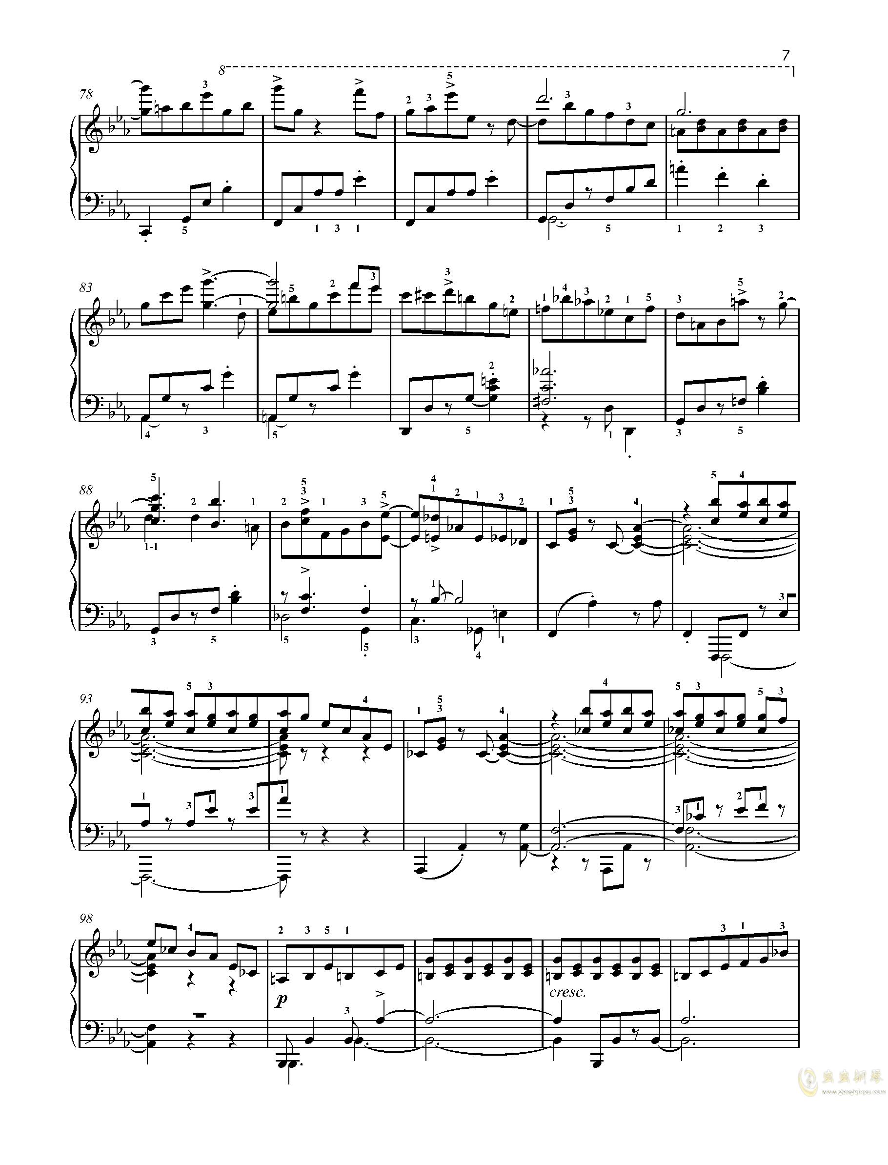 【爵士】【带指法】尼古拉斯凯帕斯汀 八首音乐会练习曲 Eight Concert 钢琴谱 第7页