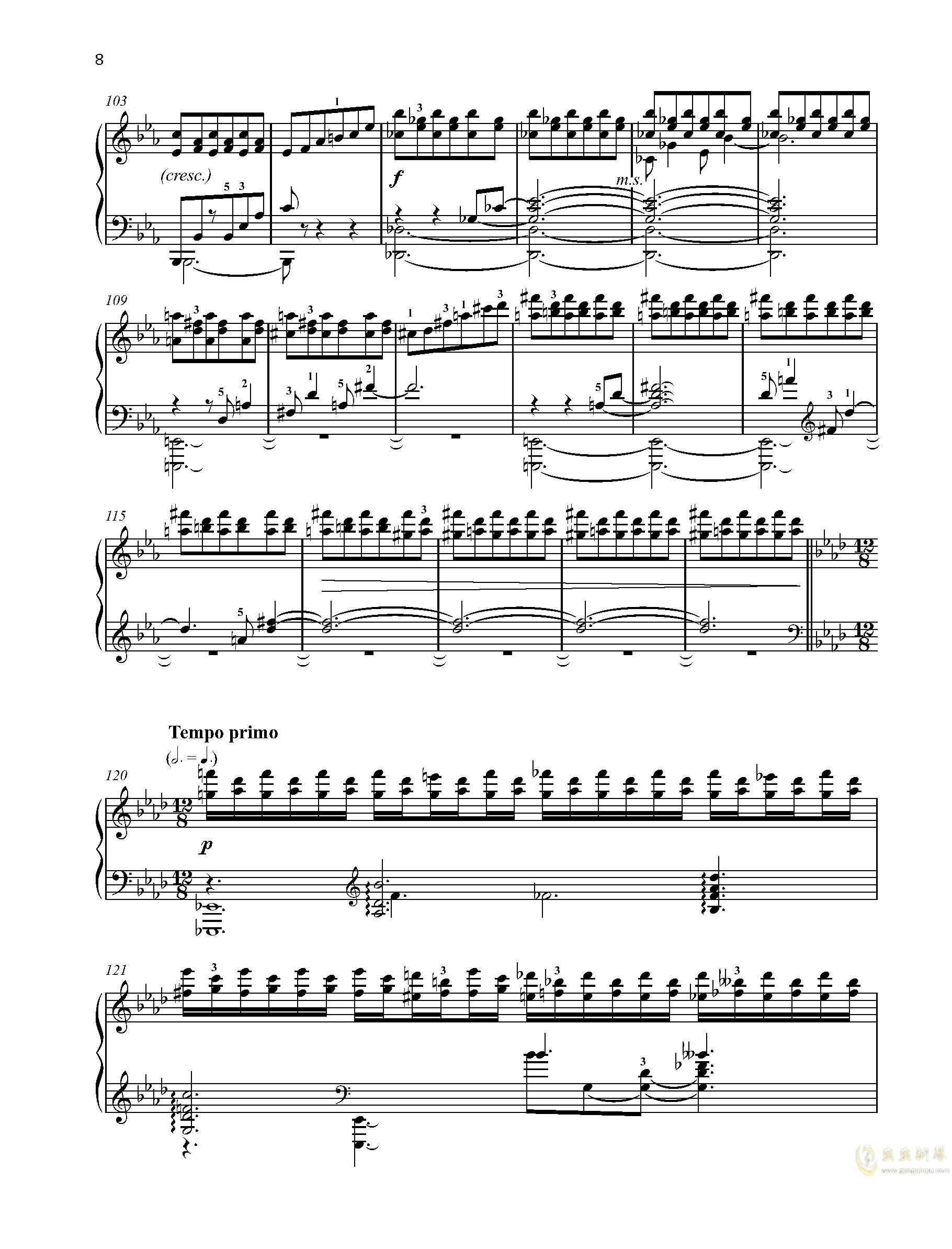 【爵士】【带指法】尼古拉斯凯帕斯汀 八首音乐会练习曲 Eight Concert 钢琴谱 第8页