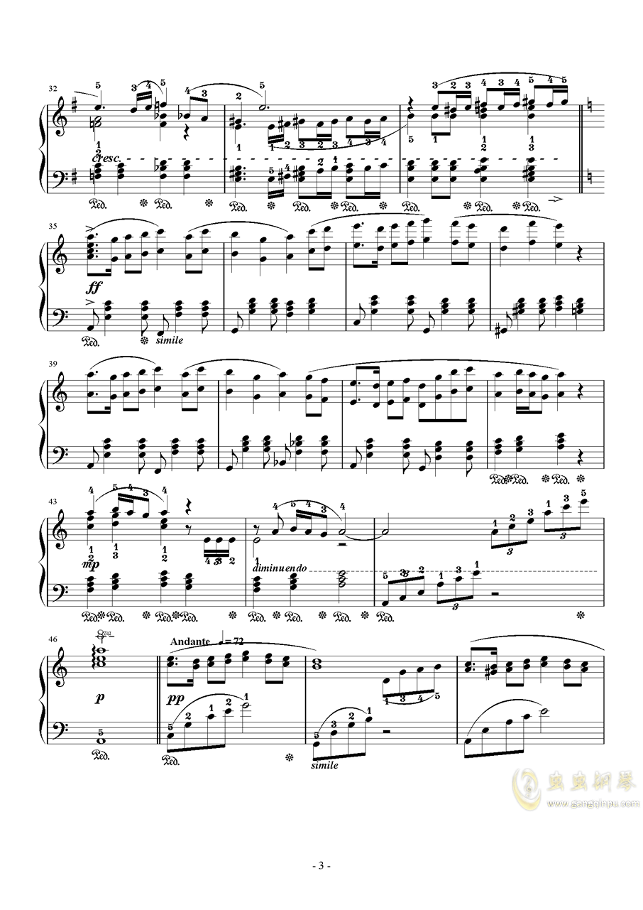FFXI Ronfaure Orchestra Version钢琴谱 第3页