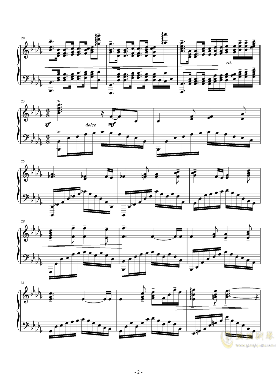 啟示鐘钢琴谱 第2页