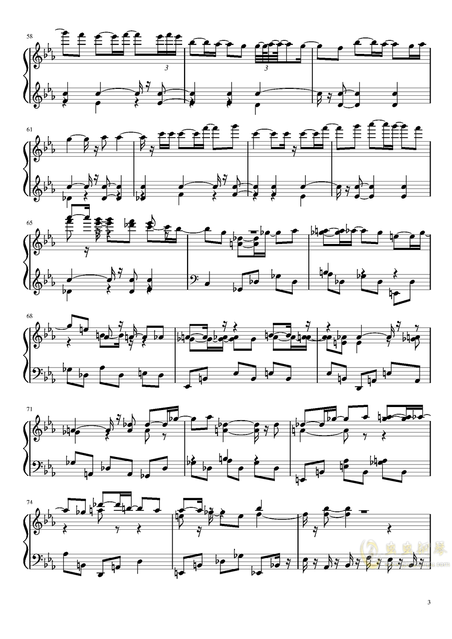 永夜变奏曲钢琴谱 第3页