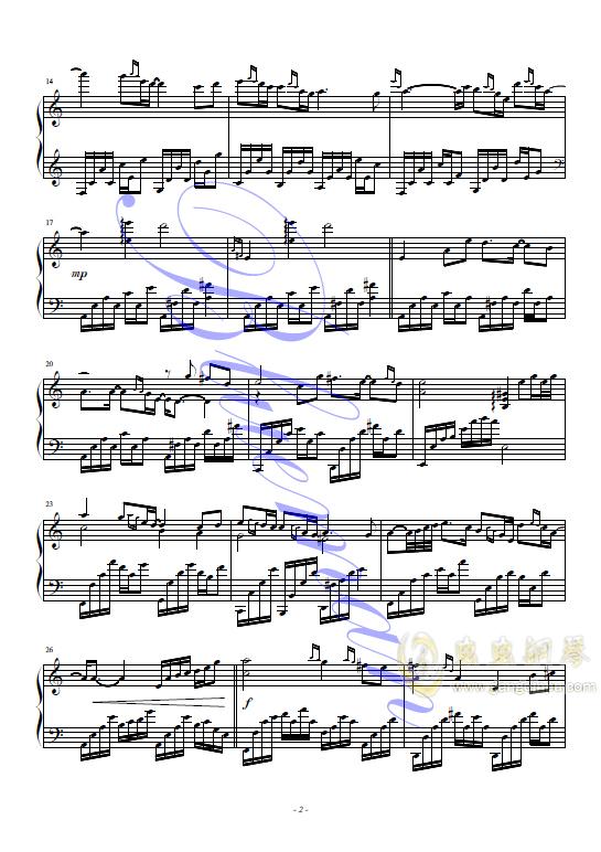 卷珠帘钢琴谱 第2页
