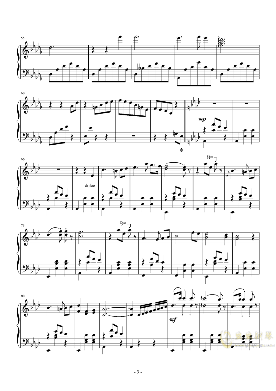 降A大调圆舞曲钢琴谱 第3页