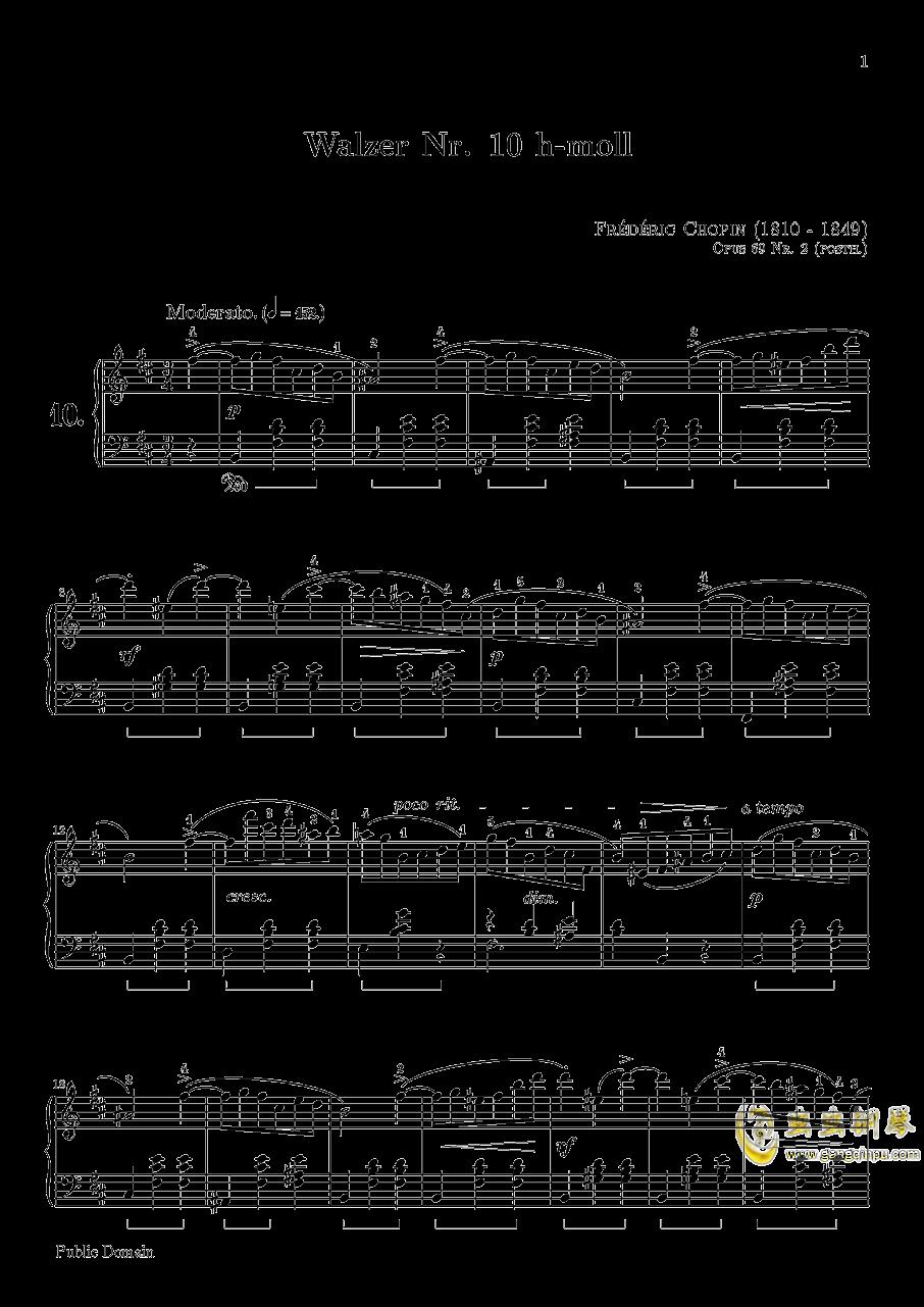 肖邦 圆舞曲 Waltz Op 69 N 2钢琴谱 第1页