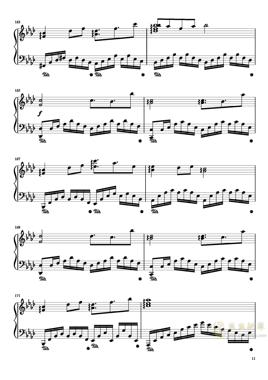 平安时代的哈德曼的妖怪少女就是她吗?钢琴谱 第11页