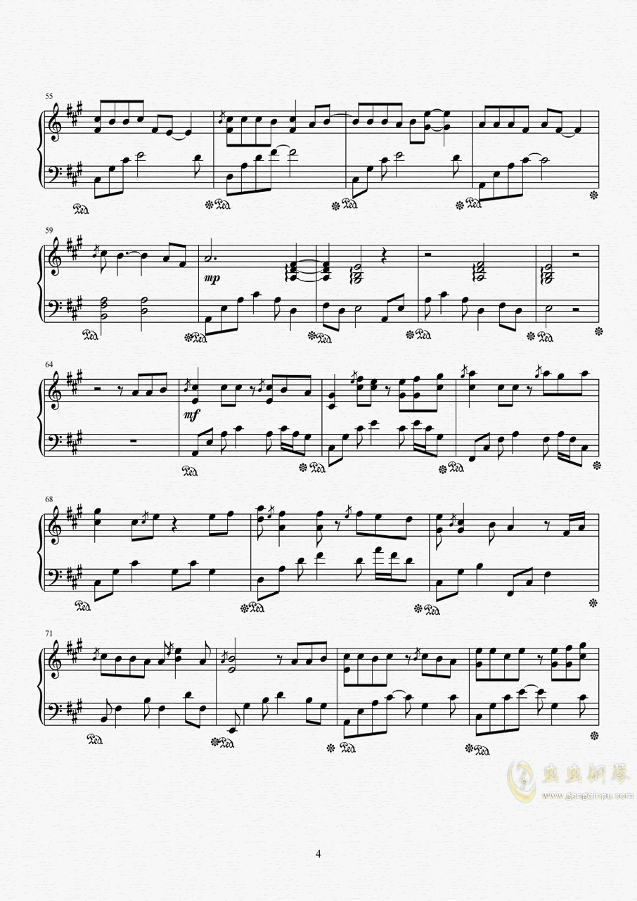 纸短情长钢琴谱 第4页