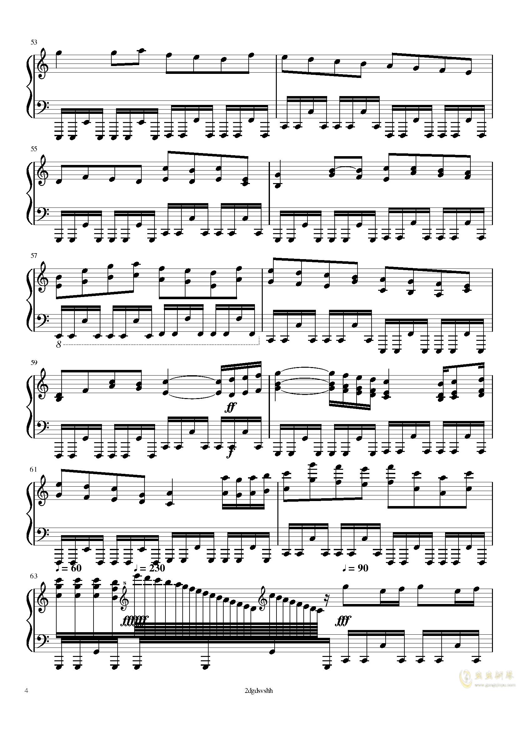 卡农钢琴谱 第4页