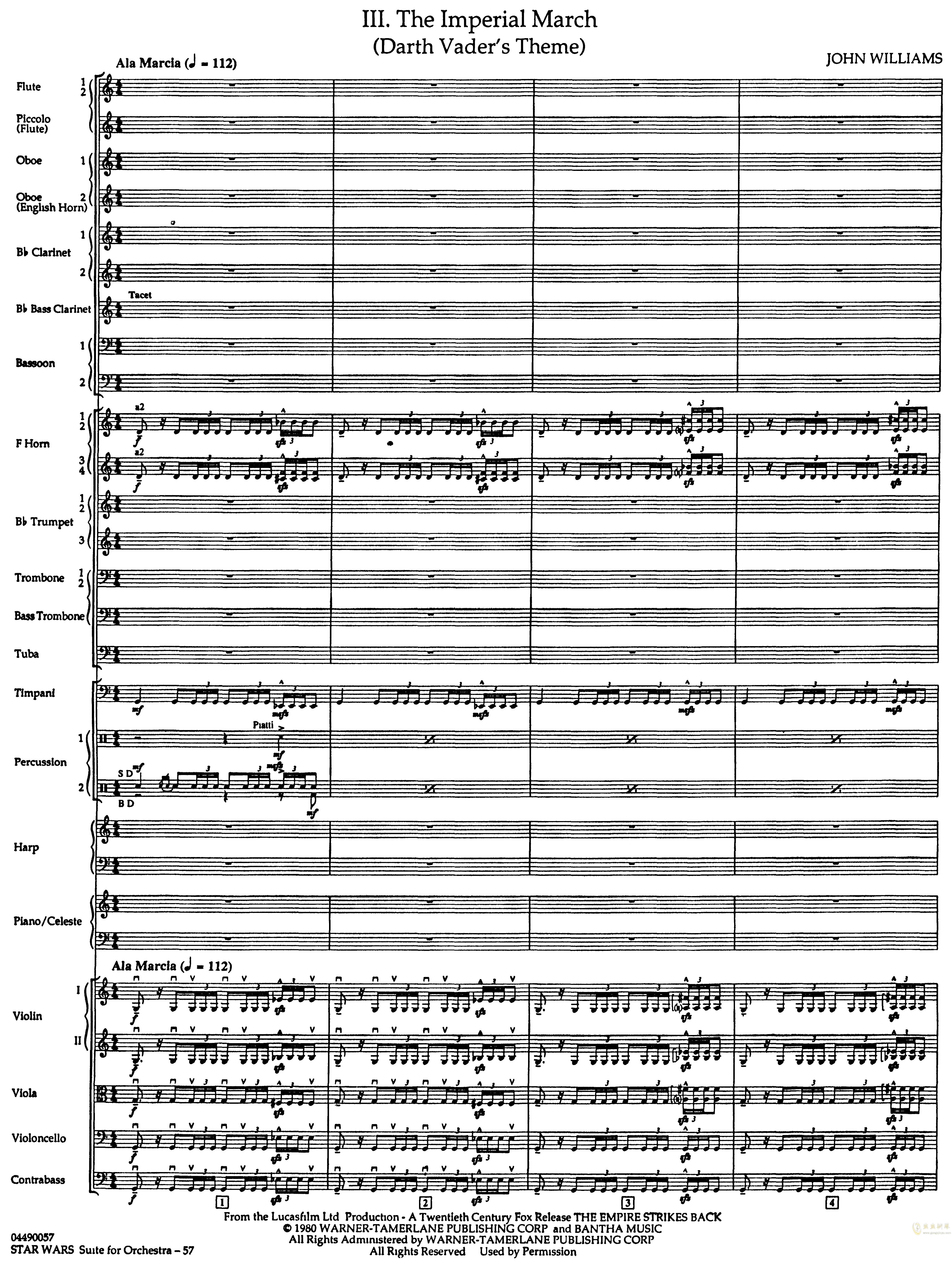帝国进行曲总谱钢琴谱 第1页