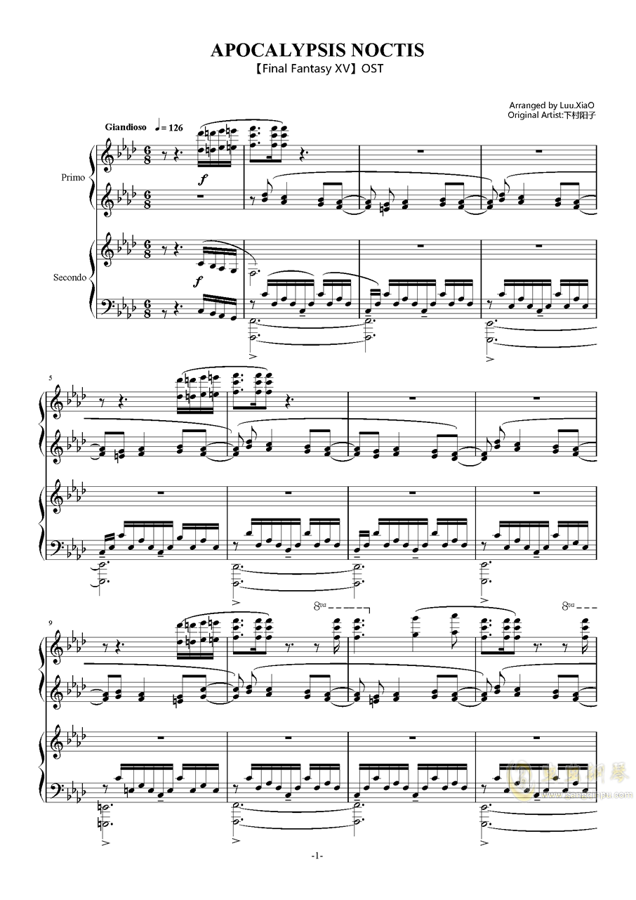OST APOCALYPSIS NOCTIS钢琴谱 第1页