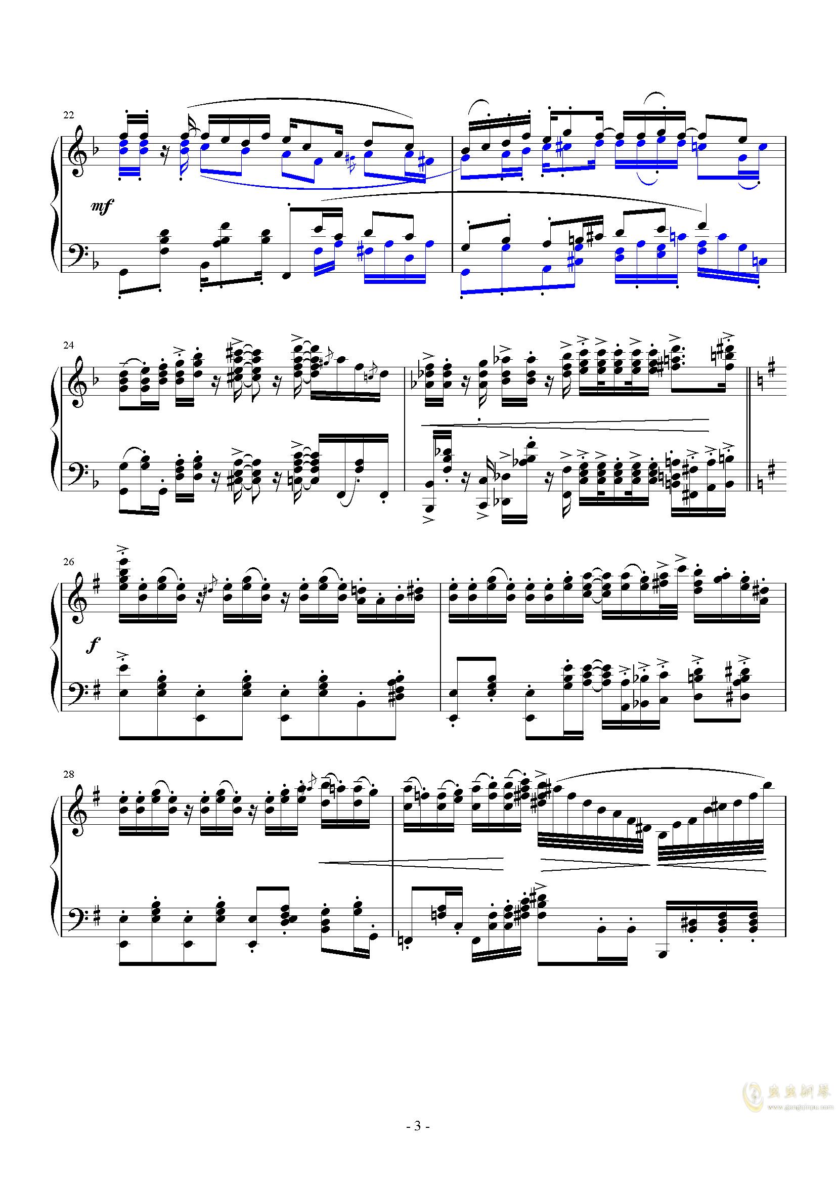 ��狂小爵士钢琴谱 第3页