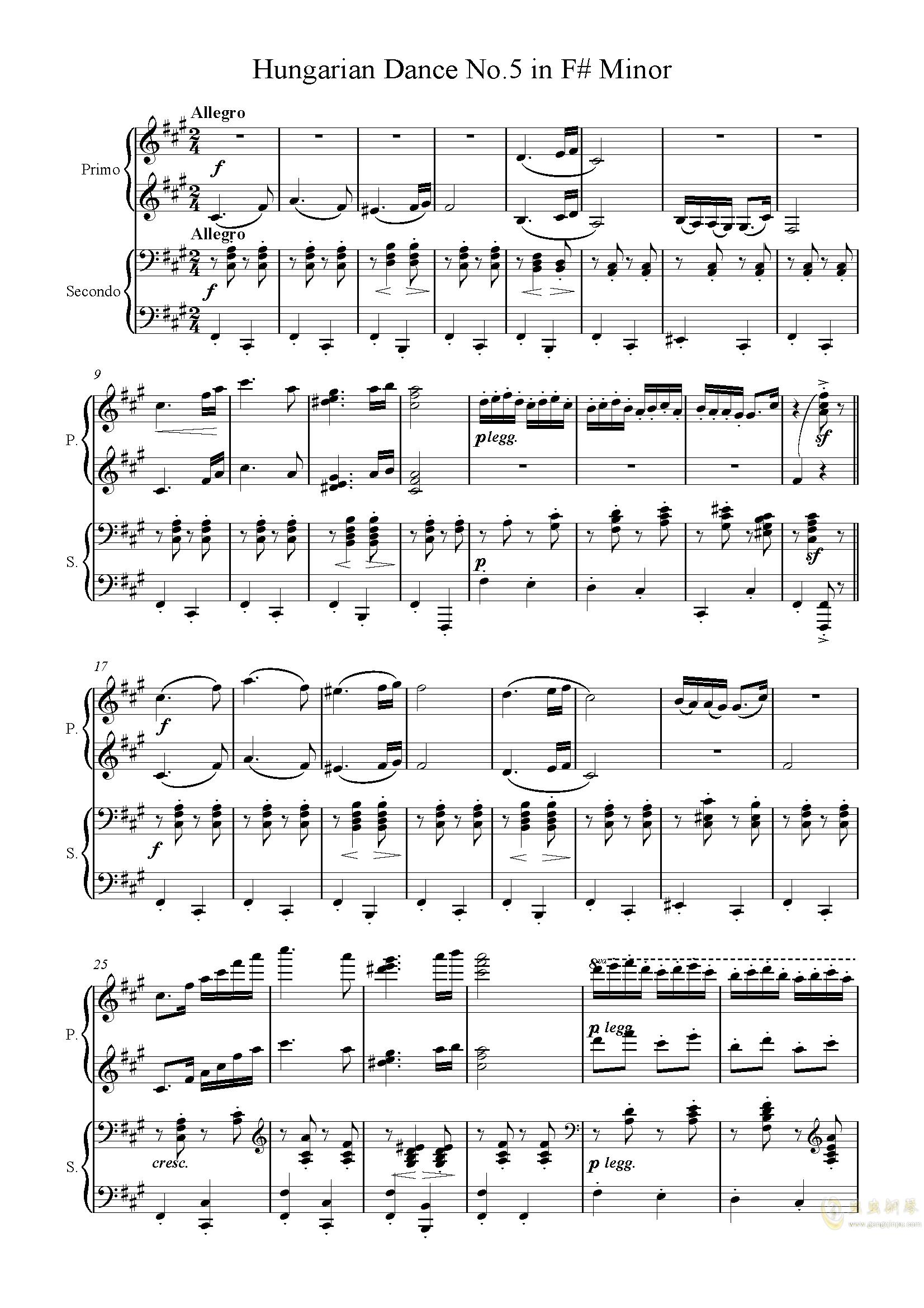 匈牙利舞曲第五号钢琴谱 第1页