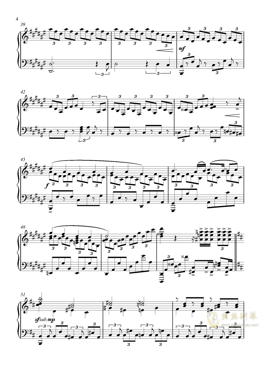 U.N.オ�`エンは彼女なのか钢琴谱 第4页