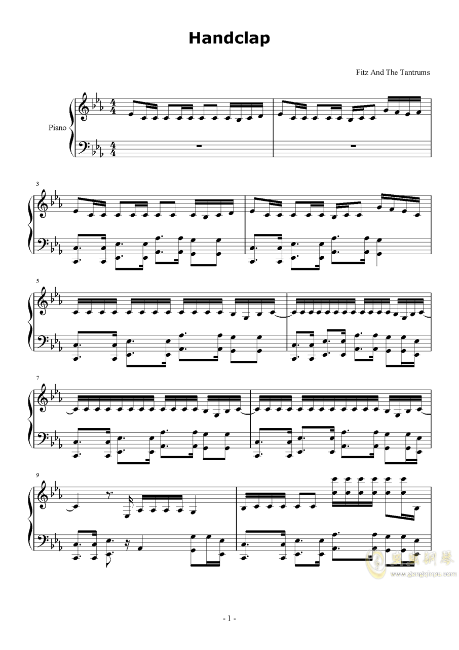 HandClap钢琴谱 第1页