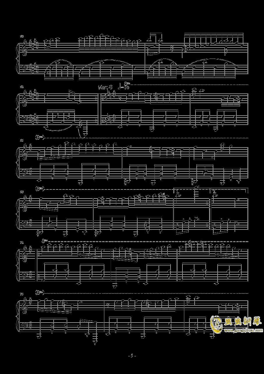 珈百璃主题变奏曲--薇奈的梦钢琴谱 第5页