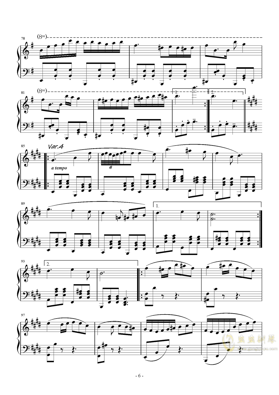 珈百璃主题变奏曲--薇奈的梦钢琴谱 第6页