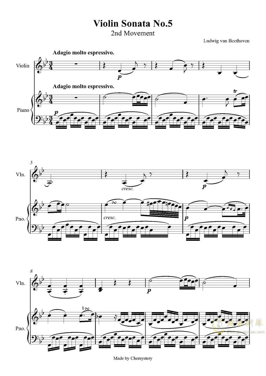 第5小提琴与钢琴奏鸣曲-第二乐章钢琴谱 第1页