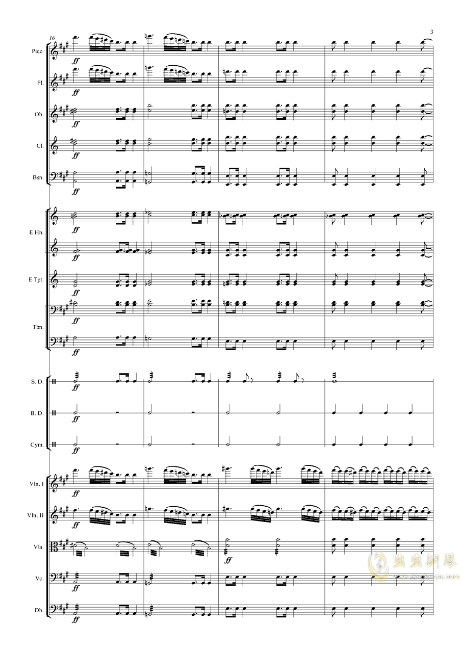 轻骑兵序曲钢琴谱 第3页