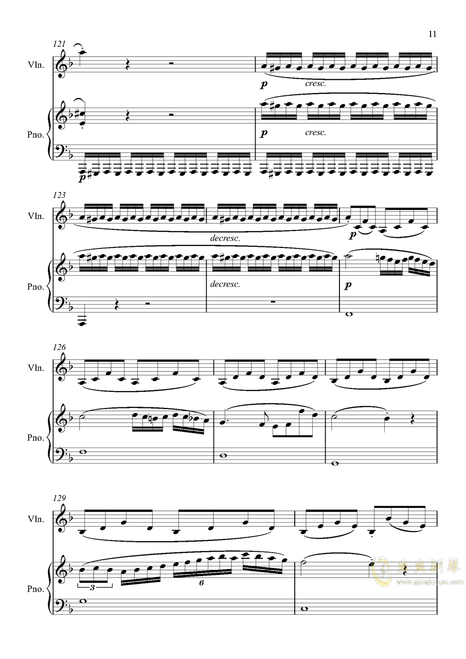 第5小提琴与钢琴奏鸣曲-第一乐章钢琴谱 第11页