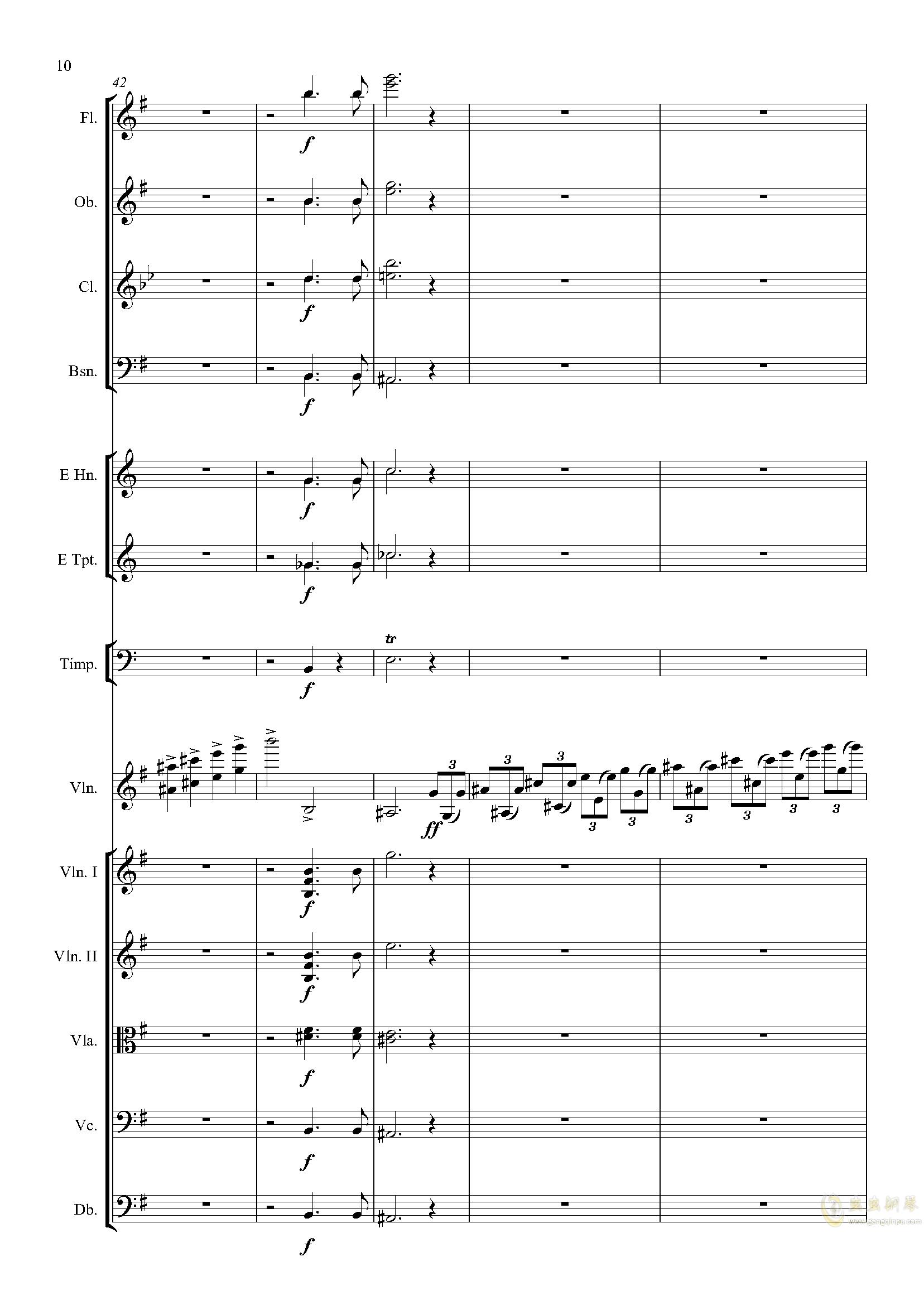 e小调小提琴协奏曲Op.64-第一乐章钢琴谱 第10页