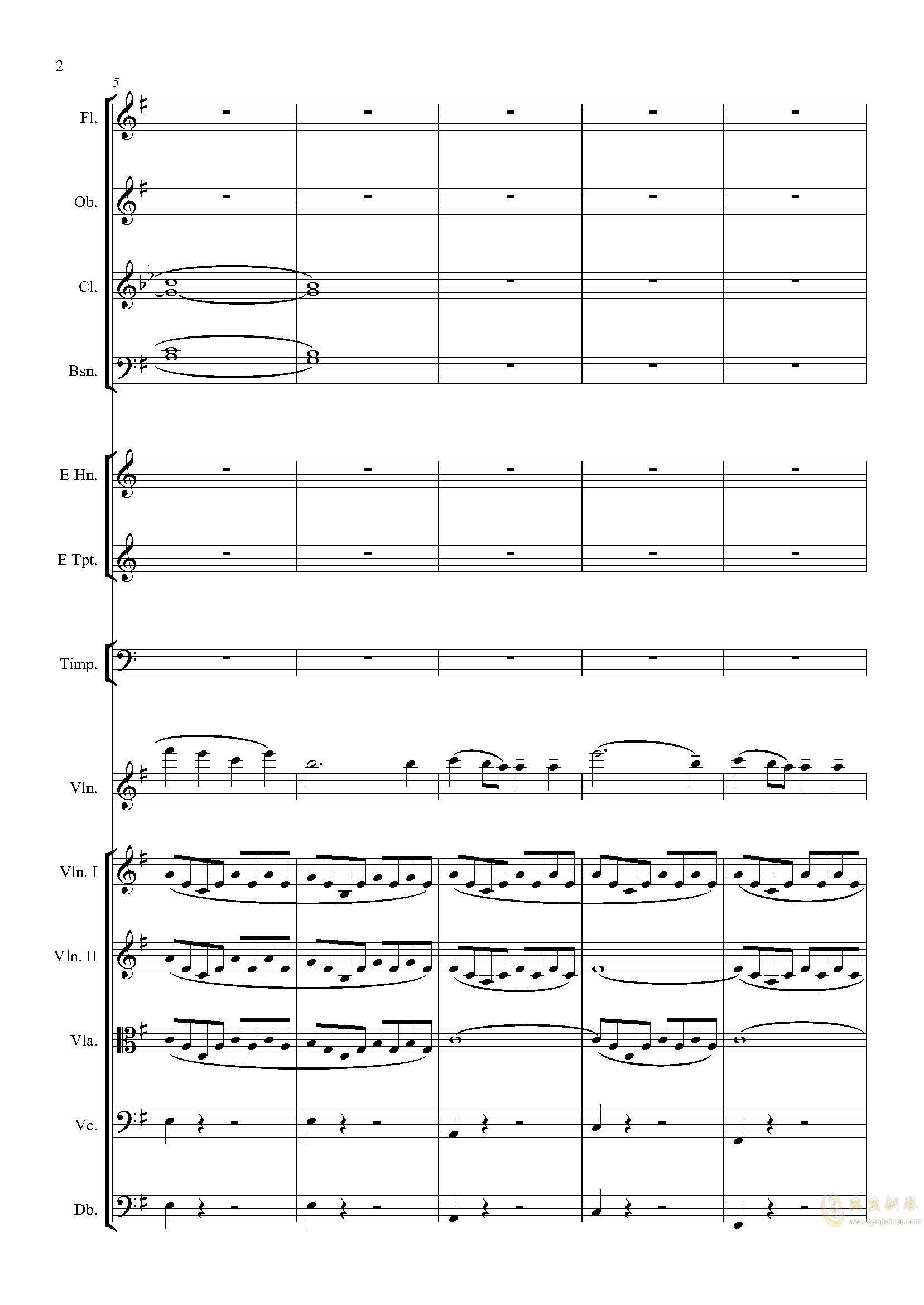 e小调小提琴协奏曲Op.64-第一乐章钢琴谱 第2页