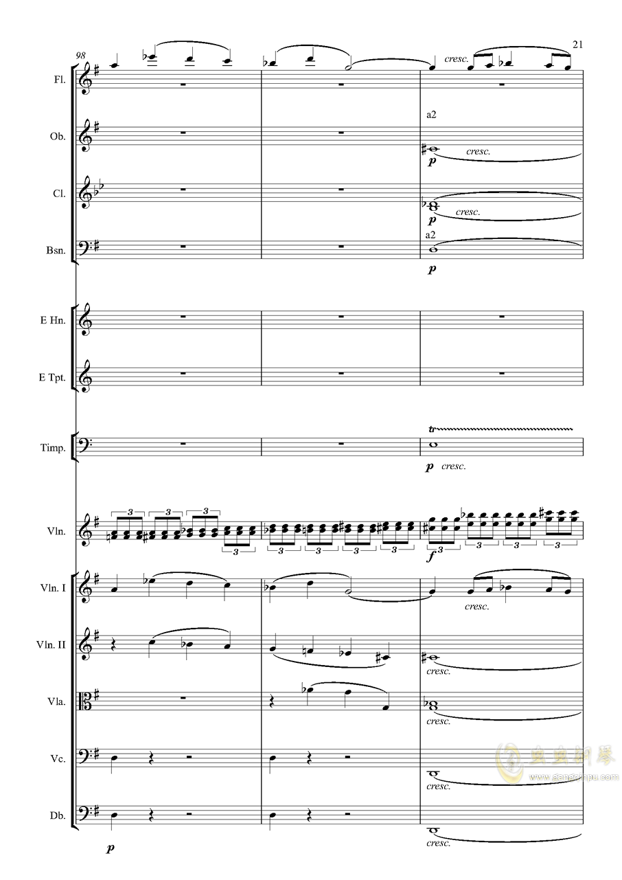 e小调小提琴协奏曲Op.64-第一乐章钢琴谱 第21页