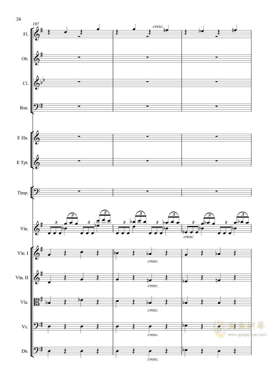 e小调小提琴协奏曲Op.64-第一乐章钢琴谱 第24页