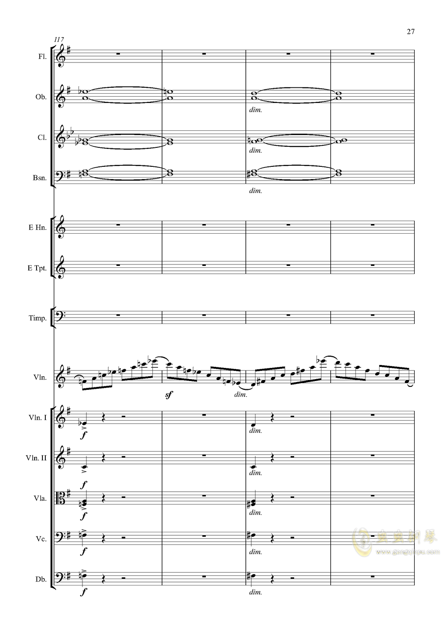 e小调小提琴协奏曲Op.64-第一乐章钢琴谱 第27页