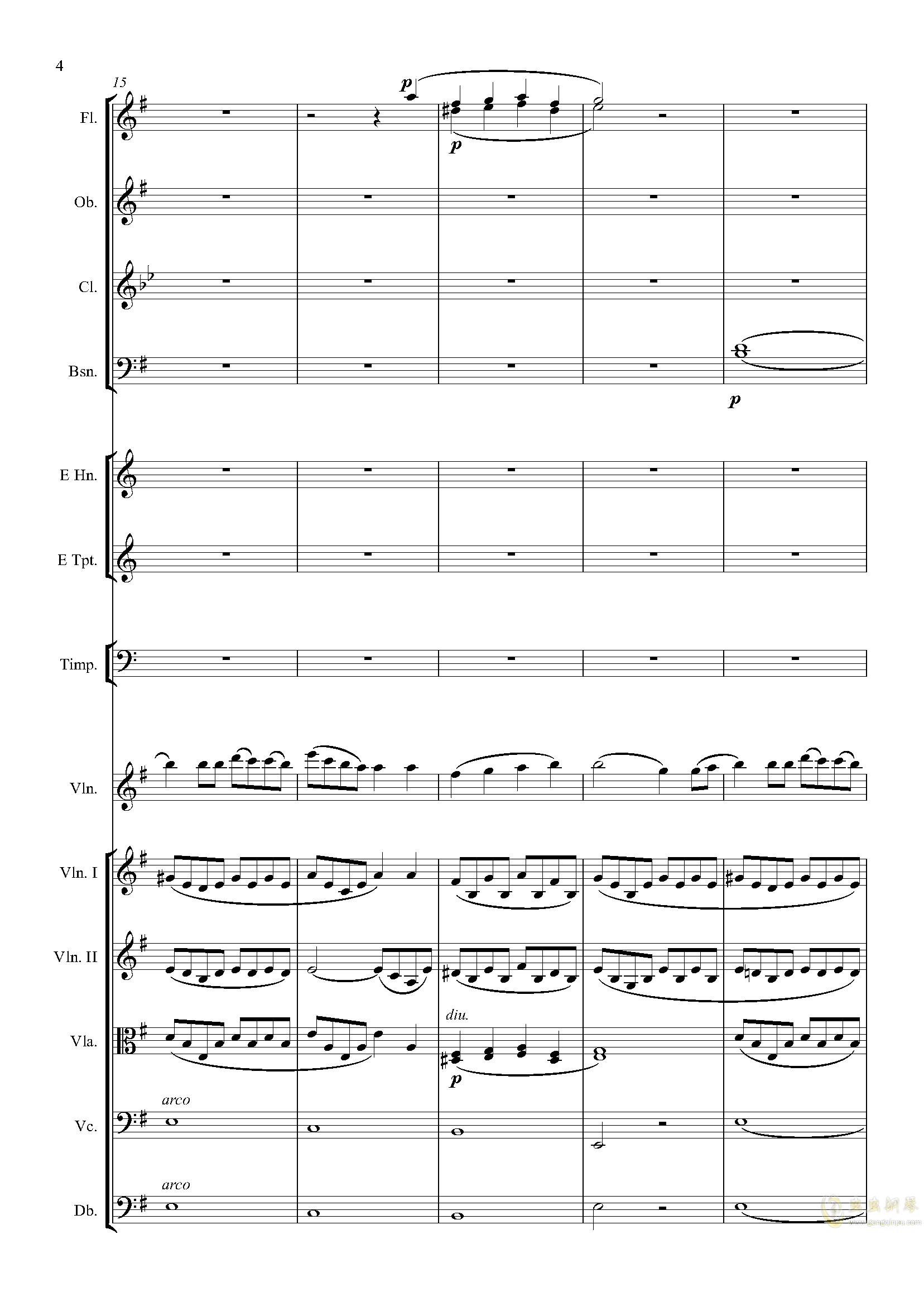 e小调小提琴协奏曲Op.64-第一乐章钢琴谱 第4页