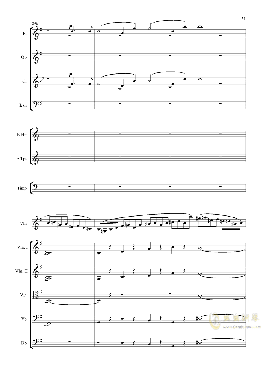 e小调小提琴协奏曲Op.64-第一乐章钢琴谱 第51页