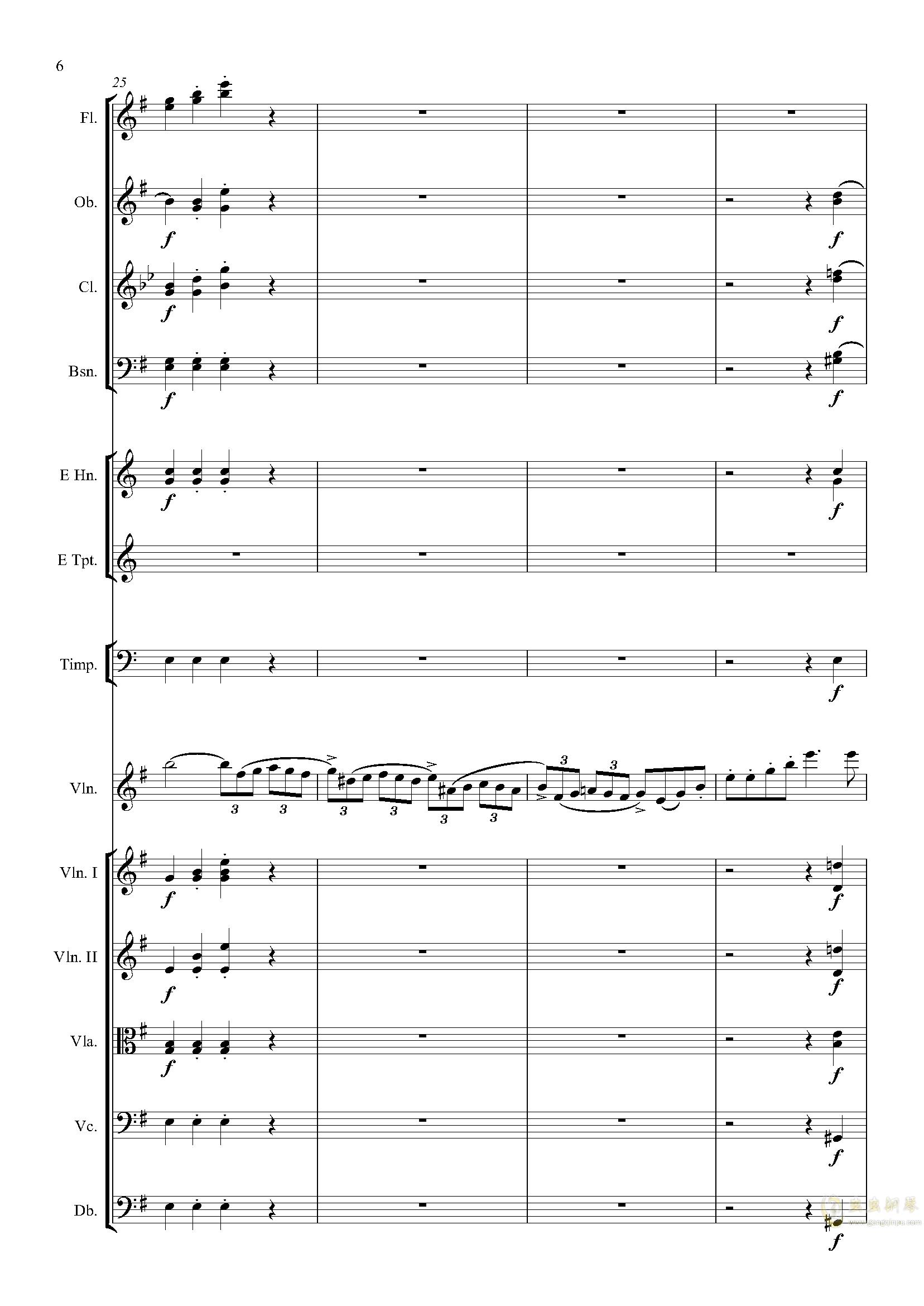 e小调小提琴协奏曲Op.64-第一乐章钢琴谱 第6页