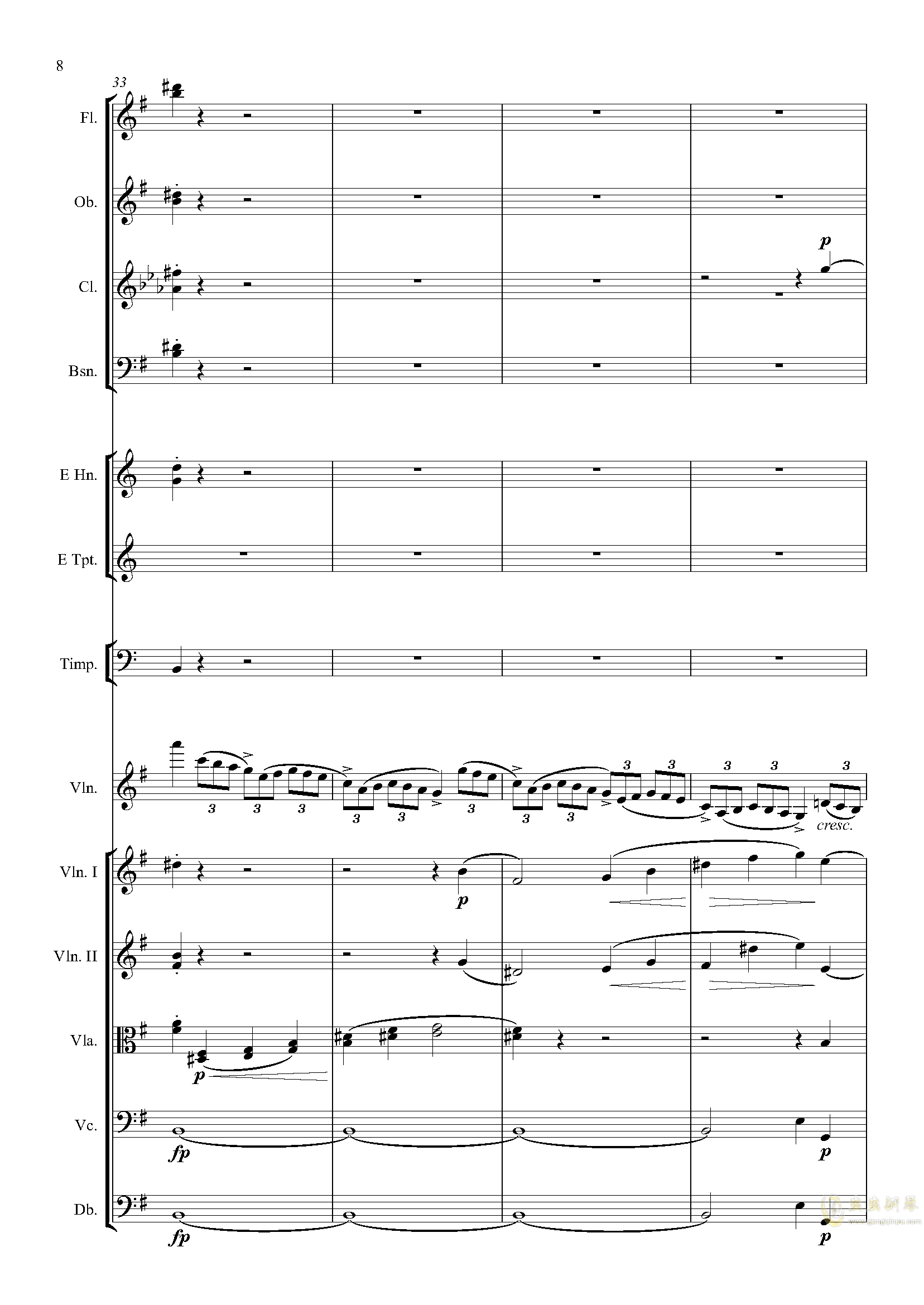 e小调小提琴协奏曲Op.64-第一乐章钢琴谱 第8页