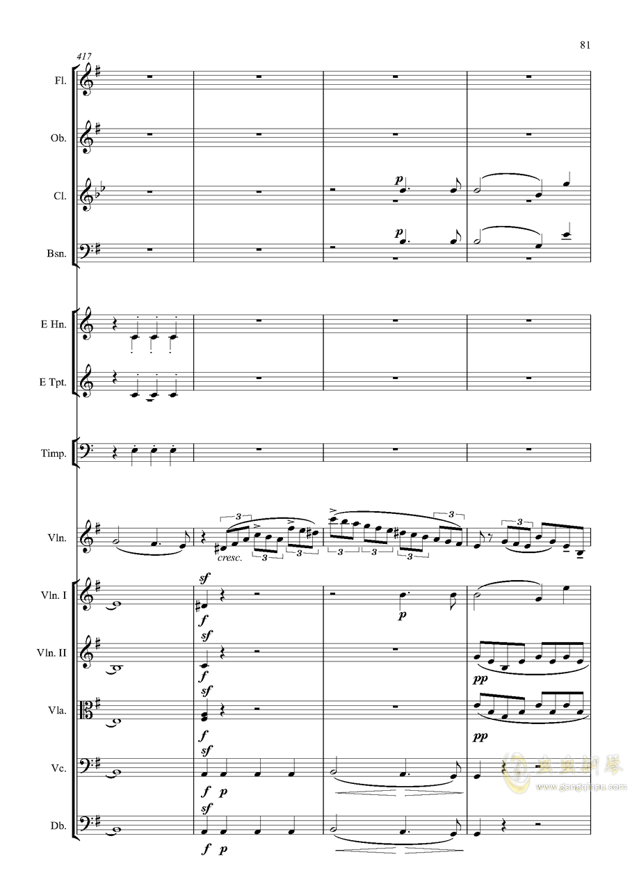 e小调小提琴协奏曲Op.64-第一乐章钢琴谱 第81页