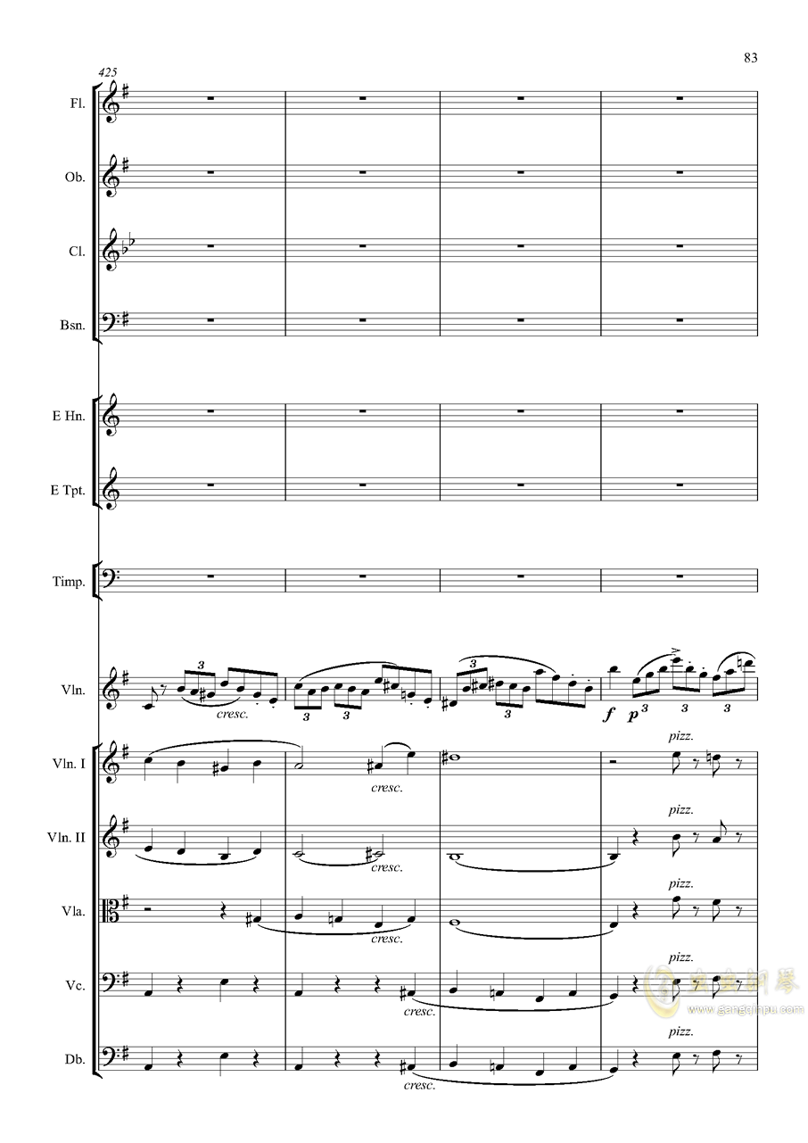 e小调小提琴协奏曲Op.64-第一乐章钢琴谱 第83页