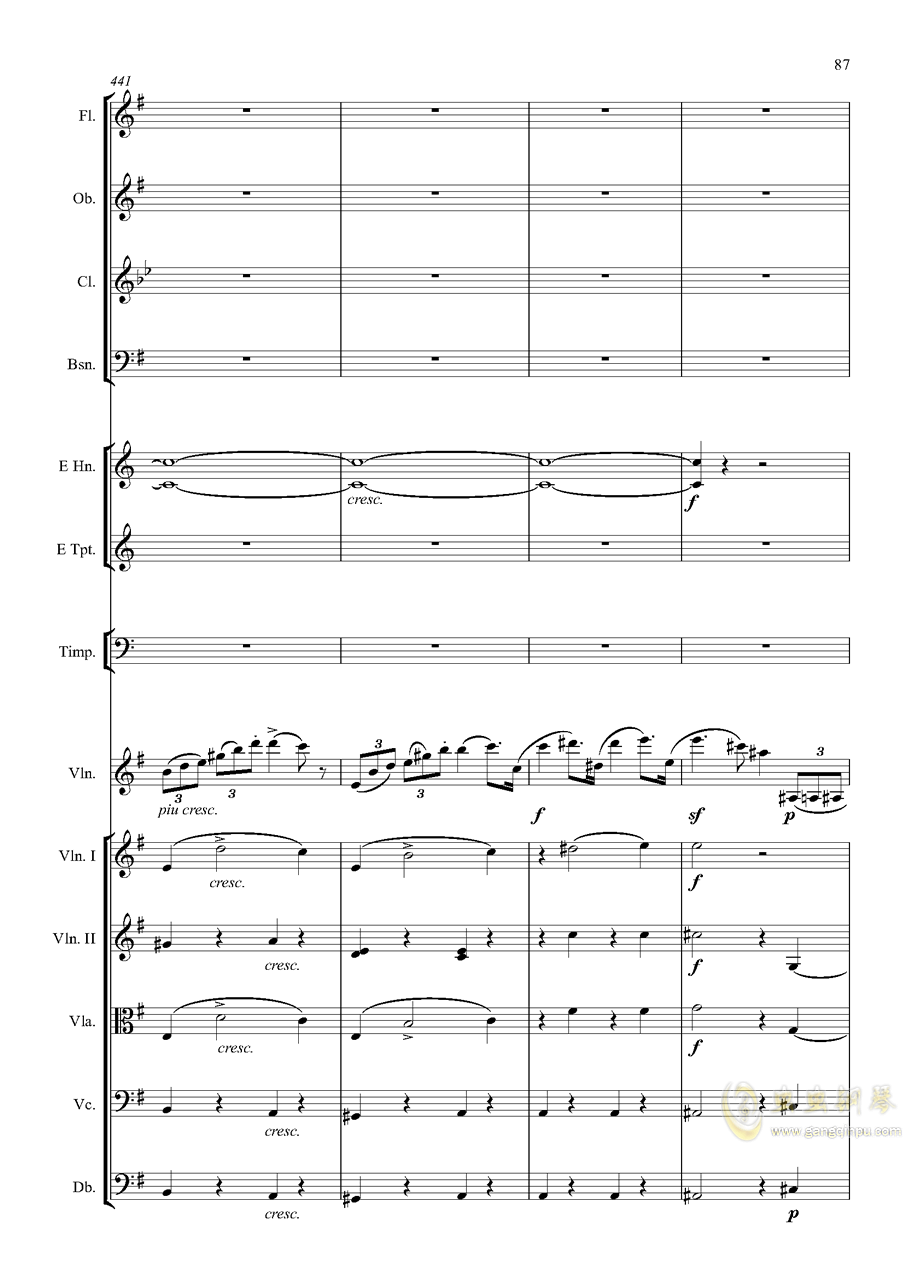 e小调小提琴协奏曲Op.64-第一乐章钢琴谱 第87页