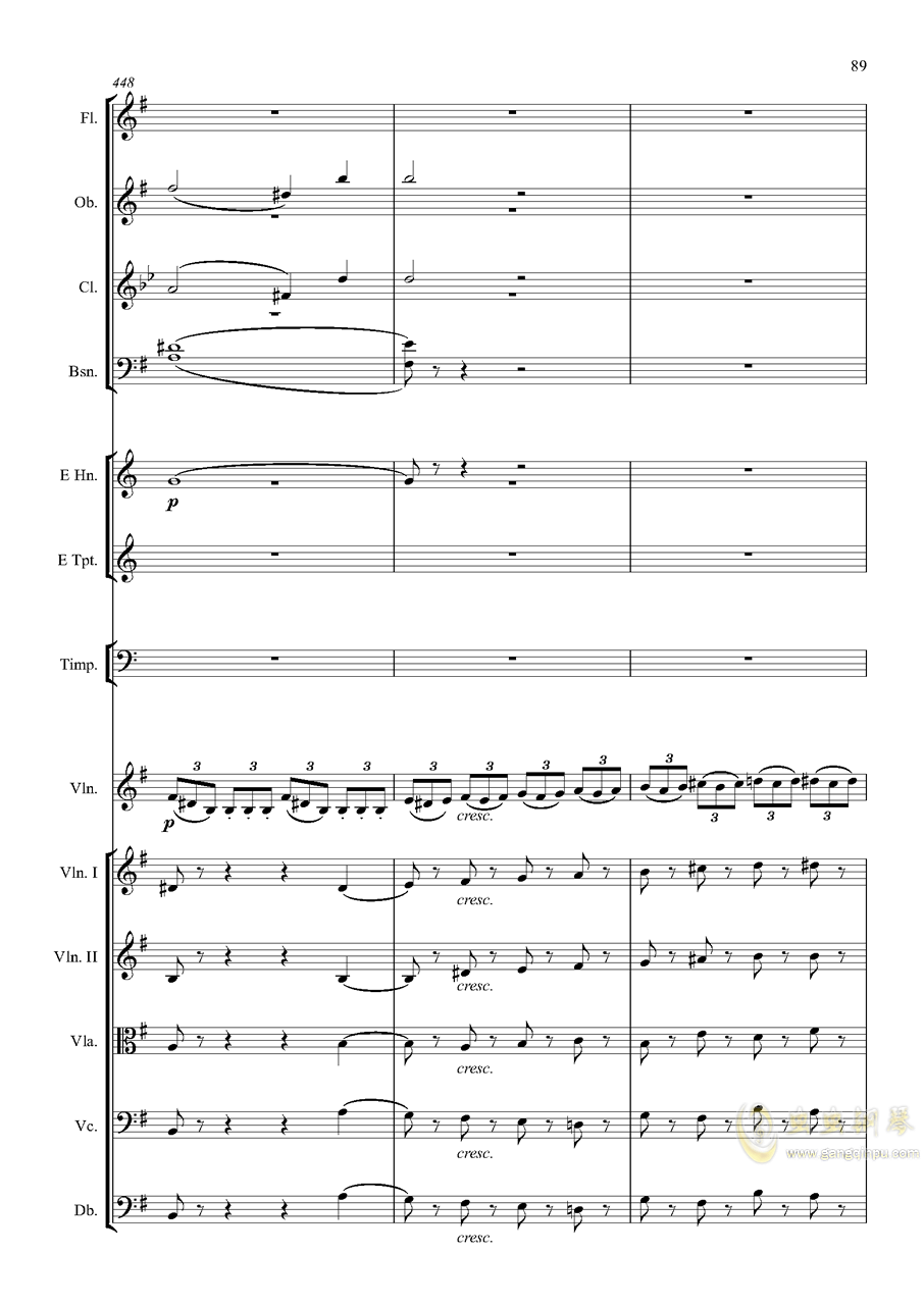 e小调小提琴协奏曲Op.64-第一乐章钢琴谱 第89页