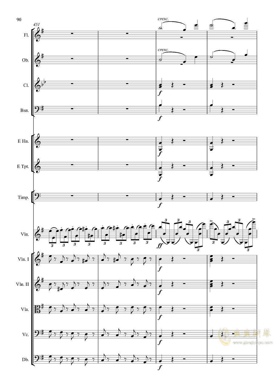 e小调小提琴协奏曲Op.64-第一乐章钢琴谱 第90页