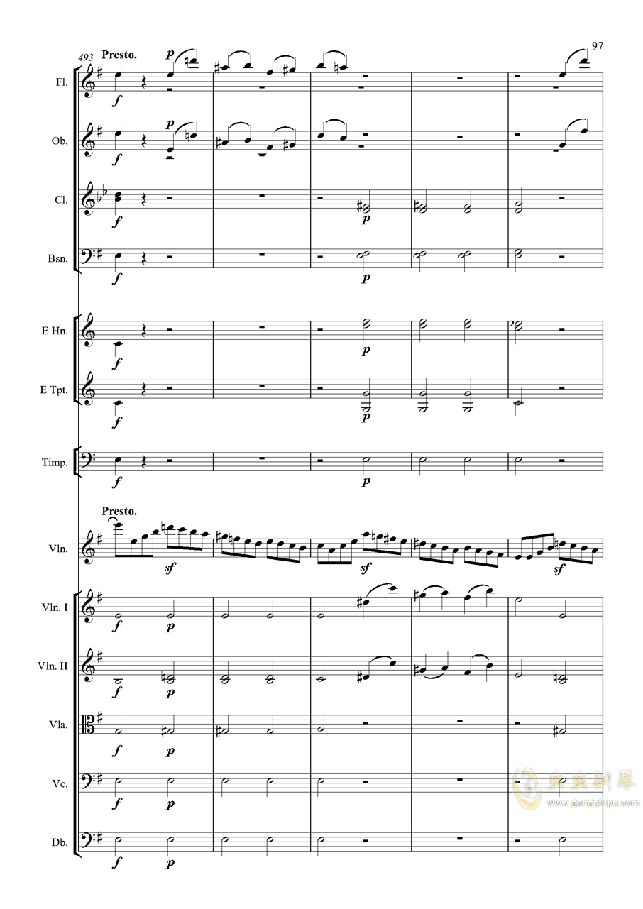 e小调小提琴协奏曲Op.64-第一乐章钢琴谱 第97页