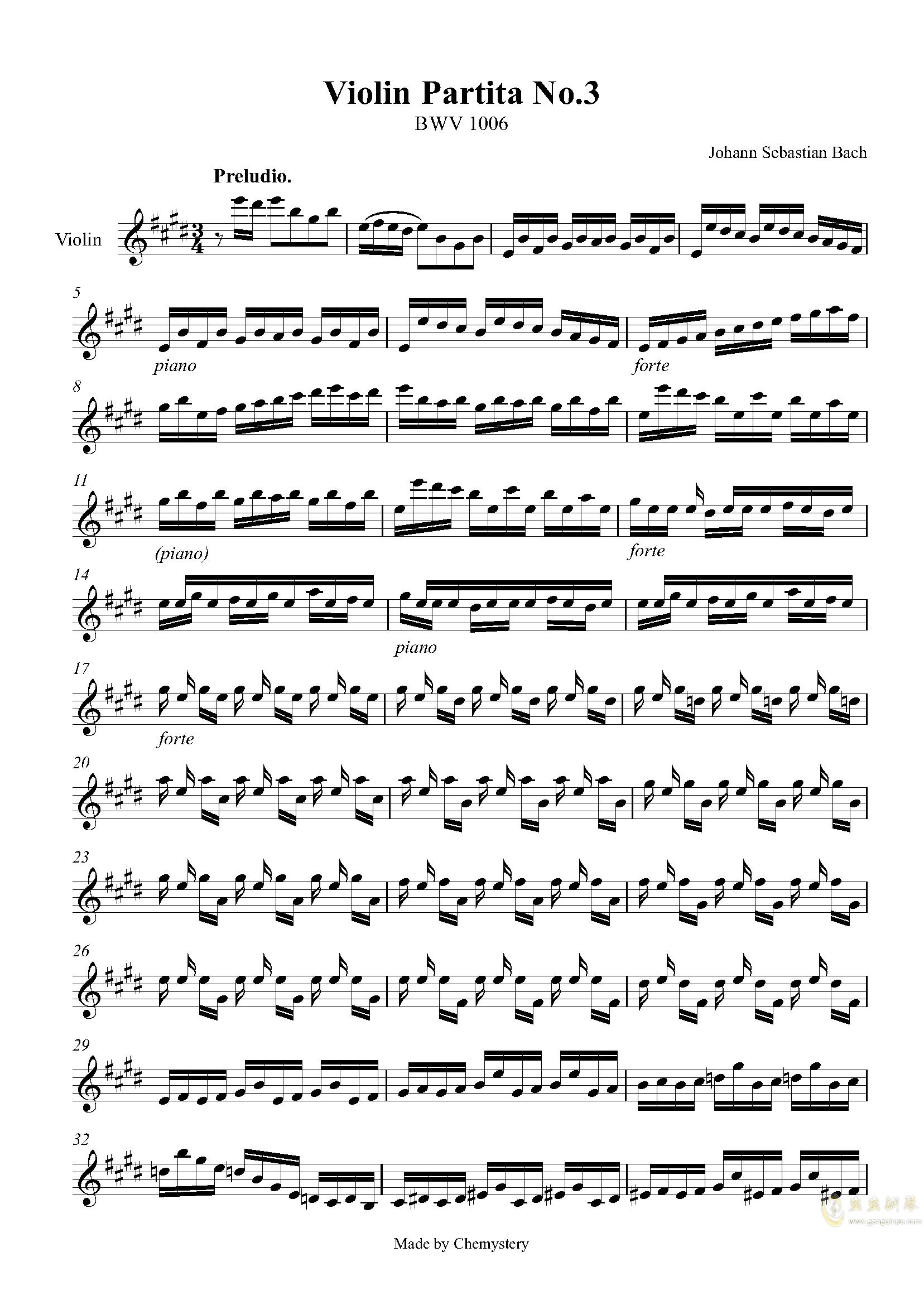 第3号无伴奏小提琴组曲-前奏曲钢琴谱 第1页