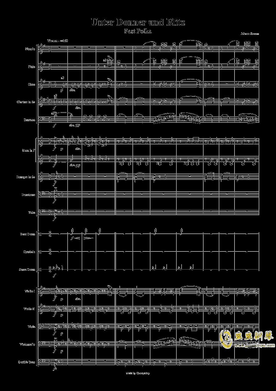 电闪雷鸣的快速波尔卡钢琴谱 第1页