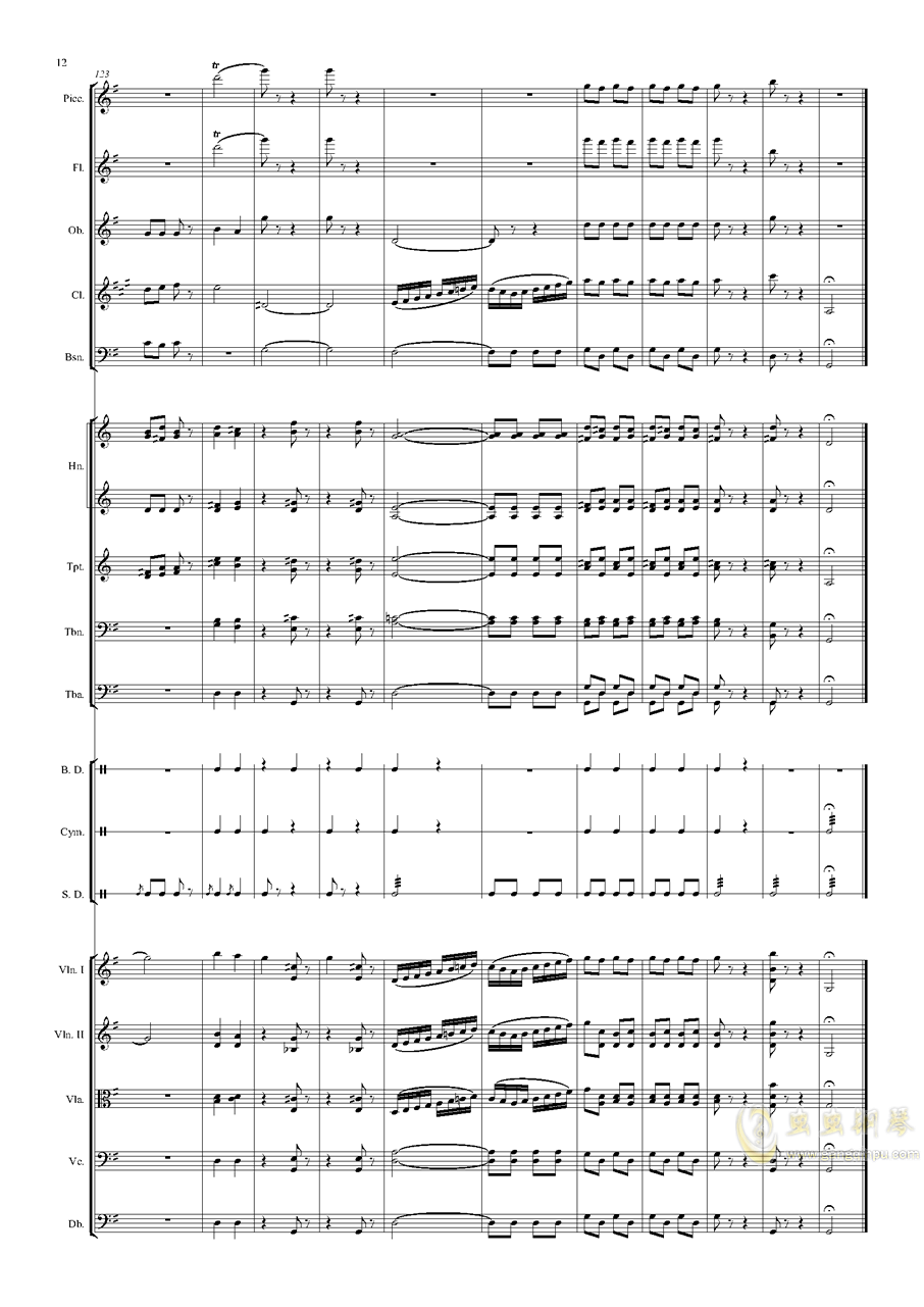 电闪雷鸣的快速波尔卡钢琴谱 第12页